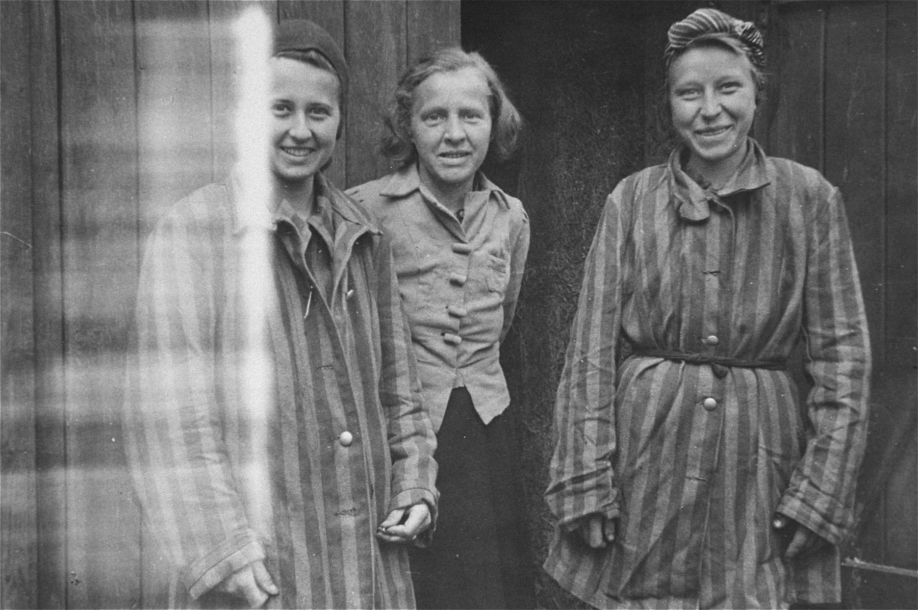 Liberated female prisoners in the womens' camp at Woebbelin.