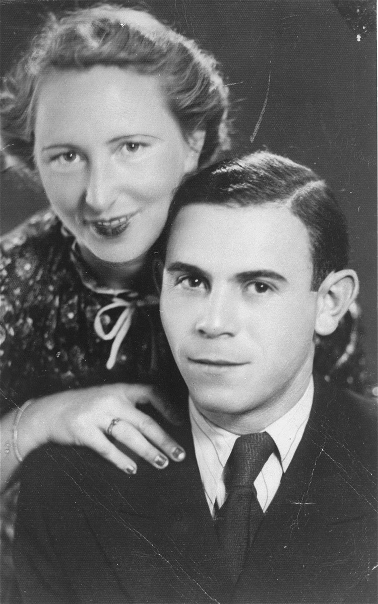 Portrait of a Jewish couple in Kovno, Lithuania.  Pictured are Jona Wisgardisky and Gita Salat Wisgardisky.