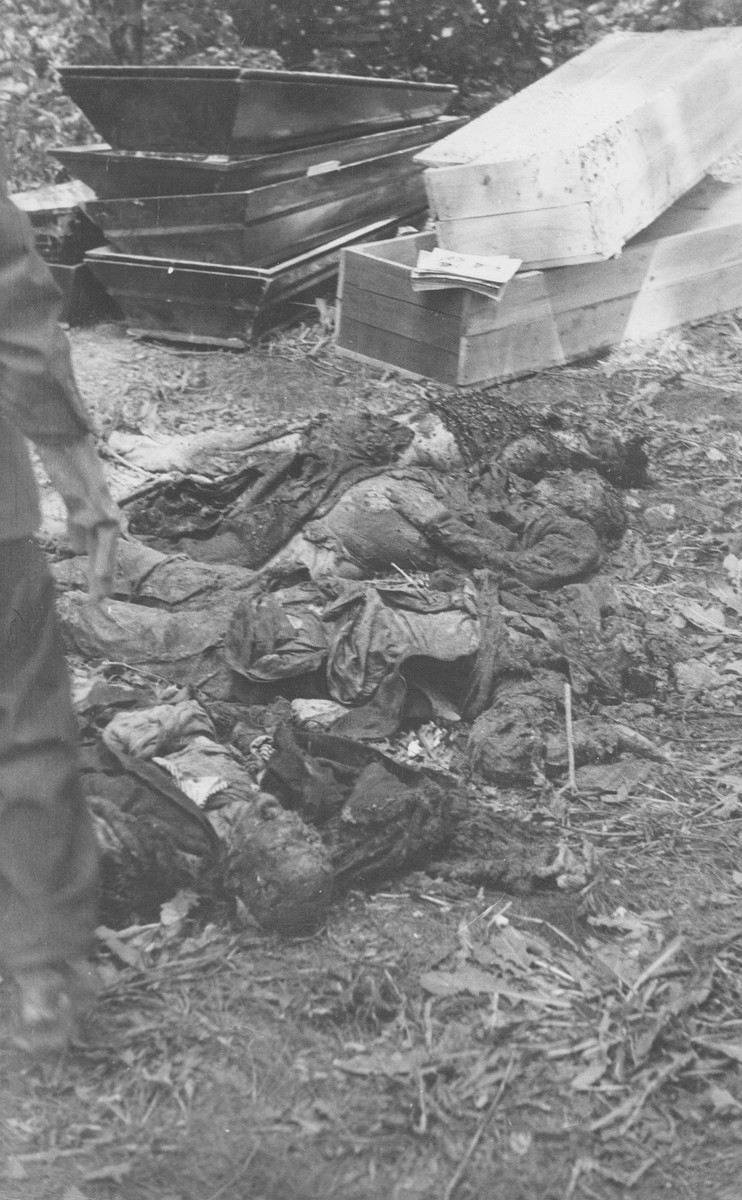 Corpses of Jews exhumed from a mass grave.  The victims were presumably killed in the Maros Street or Varosmajor Street hospital massacres.