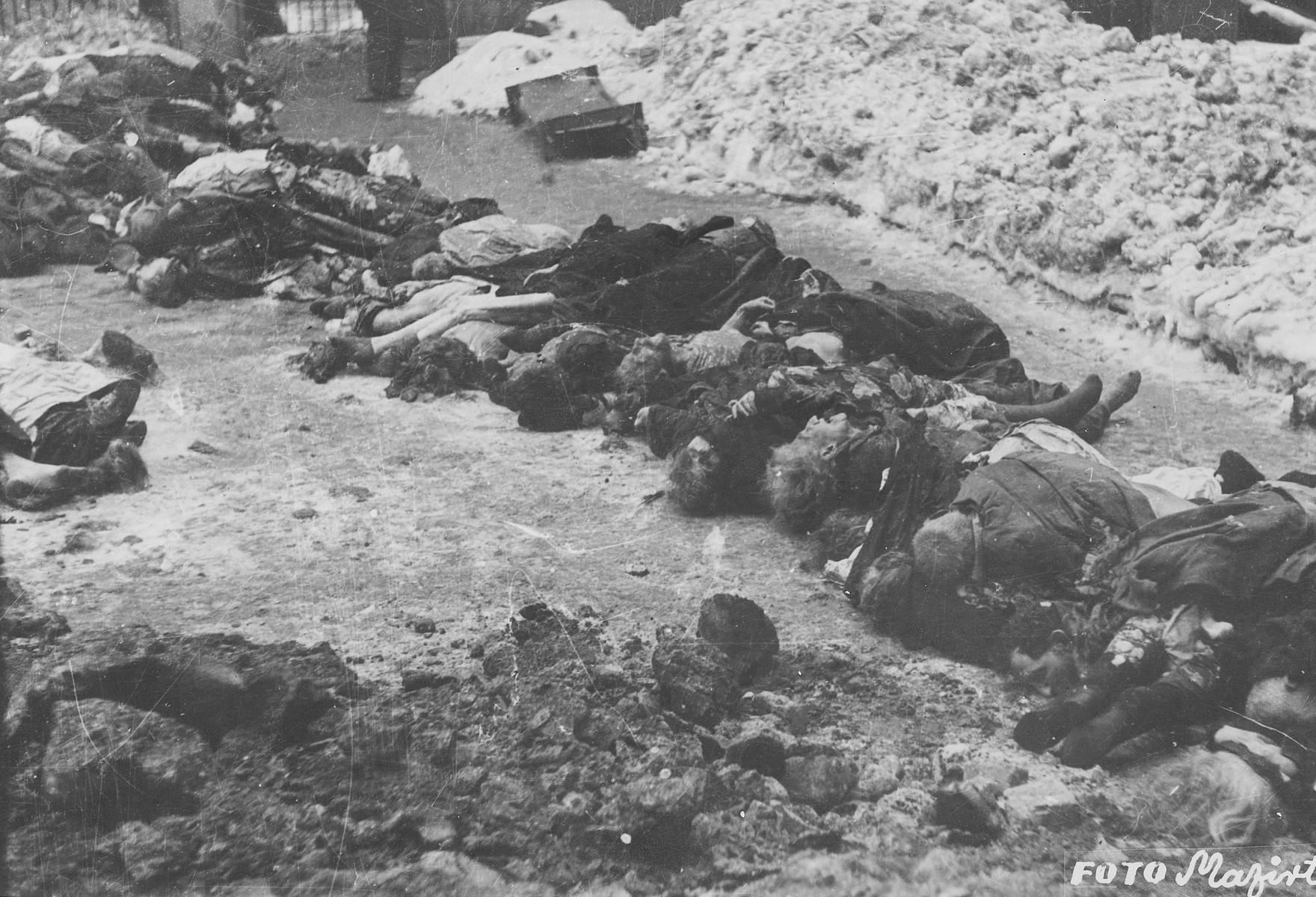 The corpses of Jews lie in the courtyard of the Dohany Street Synagogue.  During the last few months of the war in Hungary, the Nyilas (Arrow Cross) exploited the anarchic conditions in the areas still under their control to continue their excesses against the Jews.  This was particularly true in Budapest, despite the fact that the Soviet army had completely encircled the city by December 27, 1944.  The reign of terror that had begun with Szalaszi's assumption of power on October 15, 1944, went almost completely unchecked after the beginning of the Soviet siege on December 9.  Gangs of armed Nyilas--mostly teenagers--roamed the city hunting for Jews in hiding.  They searched them out in hospitals, shelters, homes outside the ghetto, in the International Ghetto, and in the large ghetto.  After robbing the Jews of their remaining valuables, the Nyilas shot them on the spot or marched them to the banks of the Danube, where they shot them, and threw their bodies into the river.  A large number of Jews who were murdered in the ghetto were buried in mass graves in the courtyard of the Dohany Street Synagogue.  The most horrific of these attacks occurred on the Pest side of the capital, at the two Jewish hospitals located on Maros and Varosmajor streets.  The Maros Street hospital, which had operated under the protection of the International Red Cross during the German occupation, was attacked on January 11, 1945.  After the initial melee, during which Nyilas gang members wantonly destroyed hospital equipment, threw patients out of their beds and trampled them, and murdered staff members, survivors were ordered to dig a mass grave, remove and bury the bodies.  They were then shot and buried in the grave themselves.  Only one nurse survived of the 92 people that were in the hospital at the time.  Three days later, on January 14, the hospital on Varosmajor Street was attacked, resulting in the deaths of 150 patients and medical staff.  These manhunts and massacres continued 