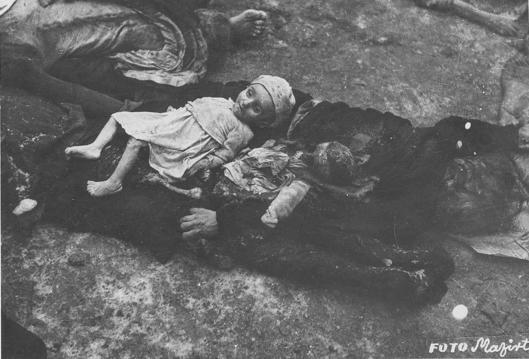 Corpses of Jewish children in the courtyard of the Dohany Street Synagogue.  During the last few months of the war in Hungary, the Nyilas (Arrow Cross) exploited the anarchic conditions in the areas still under their control to continue their excesses against the Jews.  This was particularly true in Budapest, despite the fact that the Soviet army had completely encircled the city by December 27, 1944.  The reign of terror that had begun with Szalaszi's assumption of power on October 15, 1944, went almost completely unchecked after the beginning of the Soviet siege on December 9.  Gangs of armed Nyilas--mostly teenagers--roamed the city hunting for Jews in hiding.  They searched them out in hospitals, shelters, homes outside the ghetto, in the International Ghetto, and in the large ghetto.  After robbing the Jews of their remaining valuables, the Nyilas shot them on the spot or marched them to the banks of the Danube, where they shot them, and threw their bodies into the river.  A large number of Jews who were murdered in the ghetto were buried in mass graves in the courtyard of the Dohany Street Synagogue.  The most horrific of these attacks occurred on the Pest side of the capital, at the two Jewish hospitals located on Maros and Varosmajor streets.  The Maros Street hospital, which had operated under the protection of the International Red Cross during the German occupation, was attacked on January 11, 1945.  After the initial melee, during which Nyilas gang members wantonly destroyed hospital equipment, threw patients out of their beds and trampled them, and murdered staff members, survivors were ordered to dig a mass grave, remove and bury the bodies.  They were then shot and buried in the grave themselves.  Only one nurse survived of the 92 people that were in the hospital at the time.  Three days later, on January 14, the hospital on Varosmajor Street was attacked, resulting in the deaths of 150 patients and medical staff.  These manhunts and massacres continu