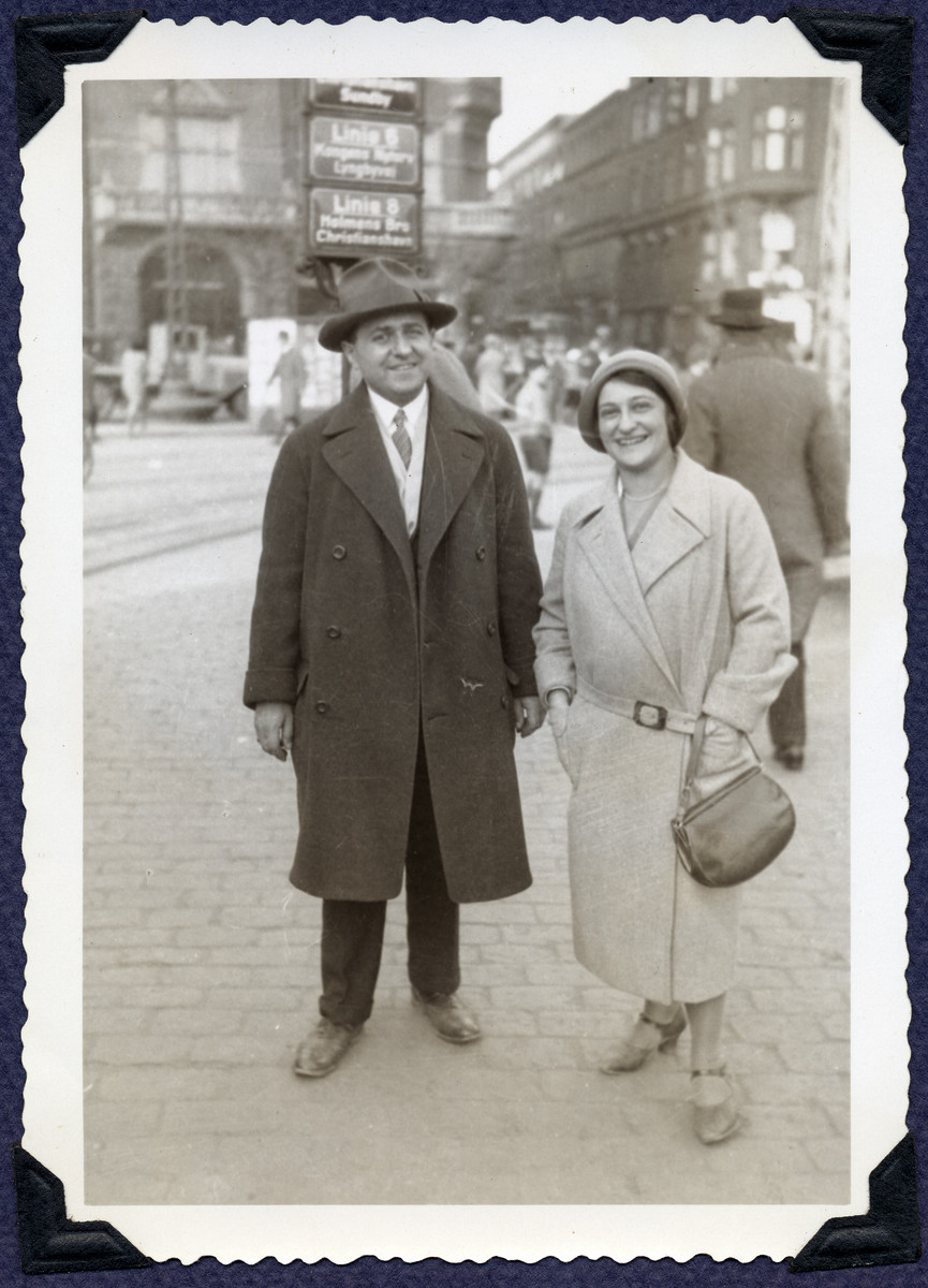 Karel and Margaret Grunbaum pose on a street in Copenhagen while on vacation to Denmark.