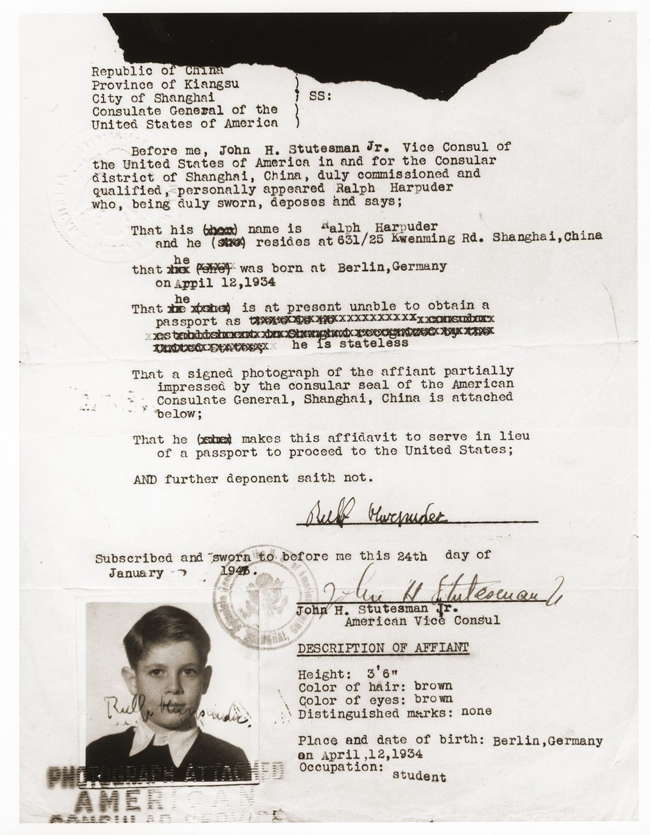 An affidavit issued to Ralf Harpuder by the American Consulate in Shanghai, that was to serve in lieu of a passport for the purpose of his travel to the United States.