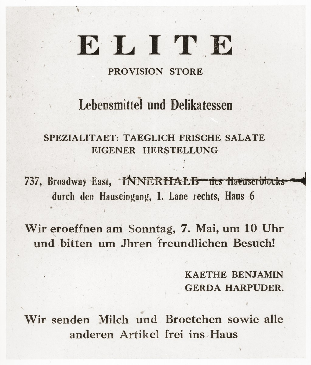 "Advertisement for the ""Elite Provision Store,"" a delicatessen opened by Gerda Harpuder, a German Jewish refugee in Shanghai."