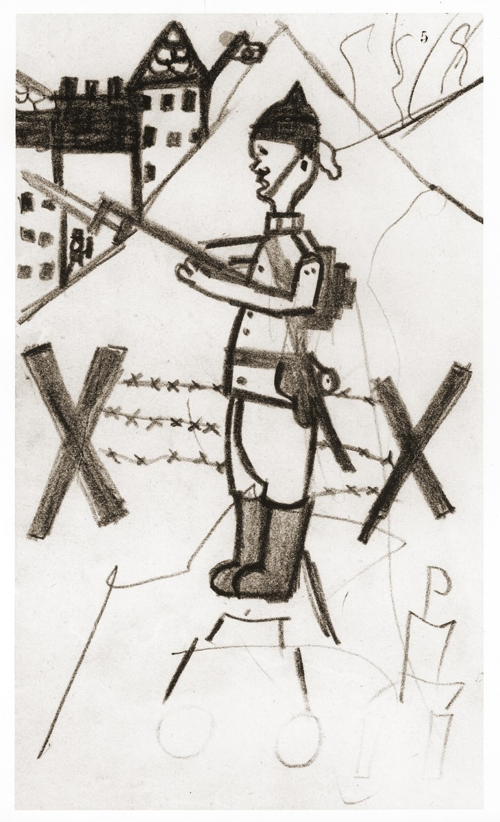 Drawing of a soldier standing in front of a barbed-wire fence holding a bayonet, made by Ralf Harpuder, a German Jewish refugee child living in Shanghai.