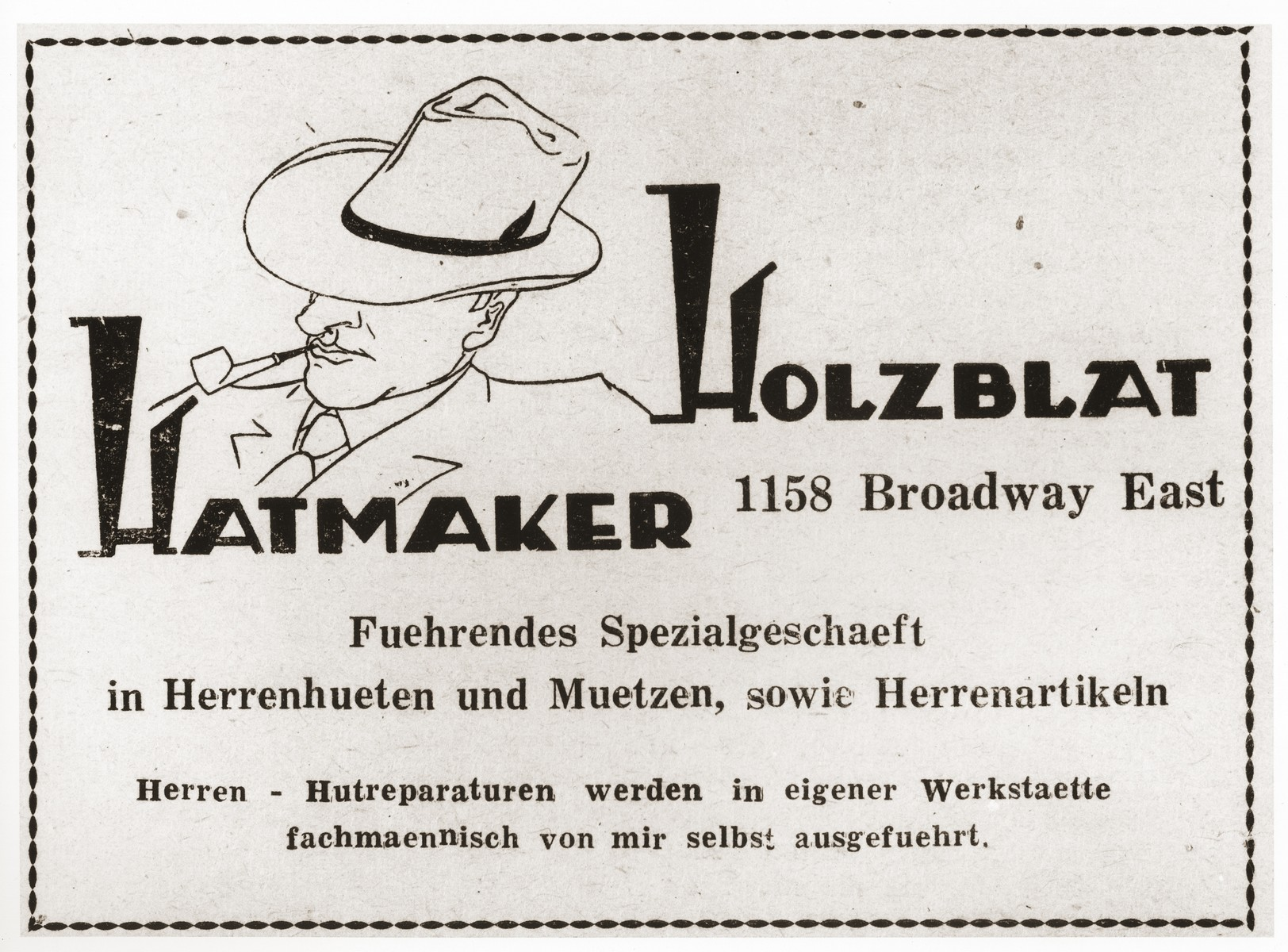 "Advertisement  for the ""Holzblat Hatmaker"", a Jewish refugee-owned hat and accessory shop for men in Shanghai."