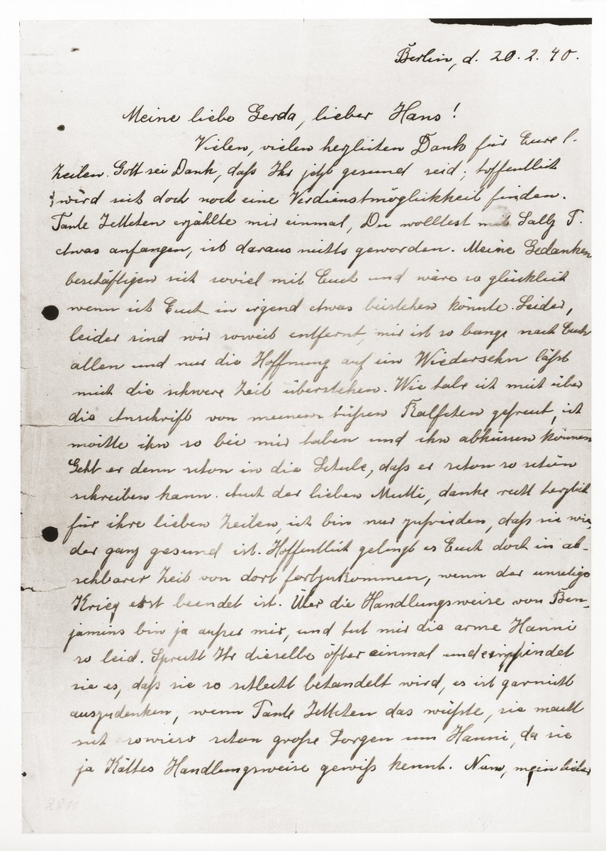 Letter from Gertrude Harpuder to her son and daughter-in-law, Hans and Gerda Harpuder, in Shanghai.    Gertrude Harpuder was later deported to Auschwitz, where she perished.