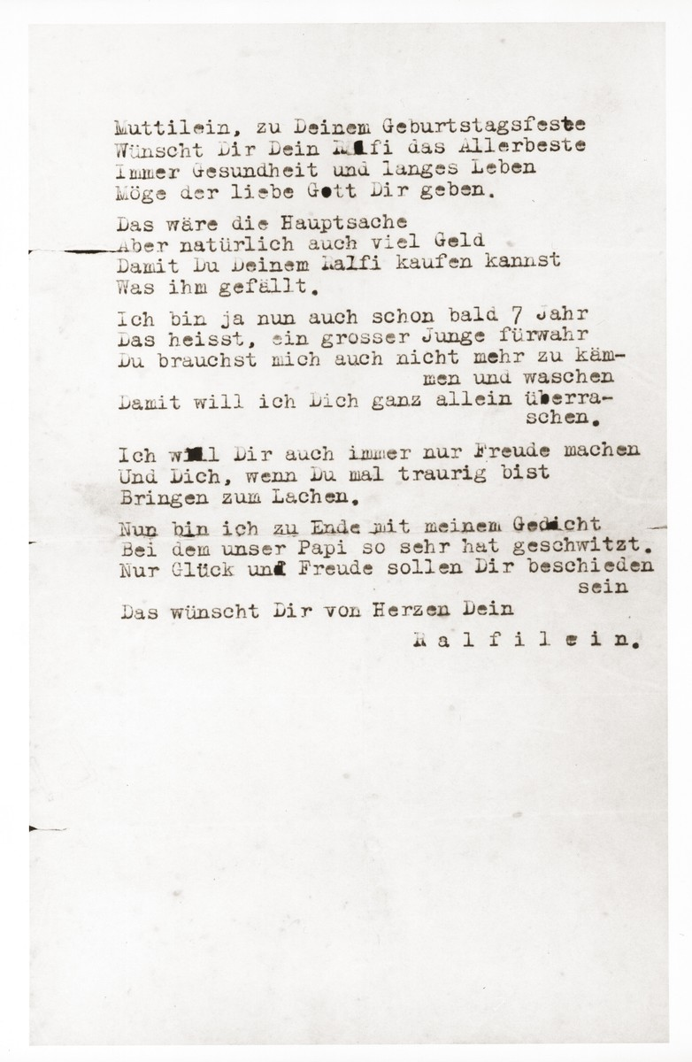 Birthday poem for Gerda Harpuder from her seven-year-old son Ralf, ghost-written by her husband, Hans Harpuder.