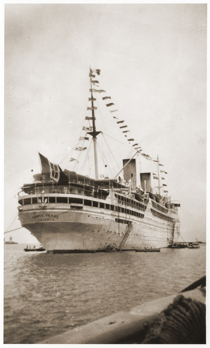 View of the SS Conte Verde in the port of Trieste before its departure for Shanghai.