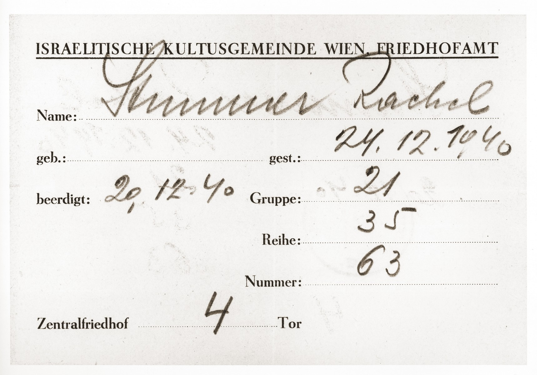 Death certificate issued by the Jewish Cemetery office of the Jewish community of Vienna for Rachel Stummer, who died on December 24, 1940.  The death certificate was sent to Viktor Stummer, the son of the deceased, an Austrian Jewish refugee in Shanghai.