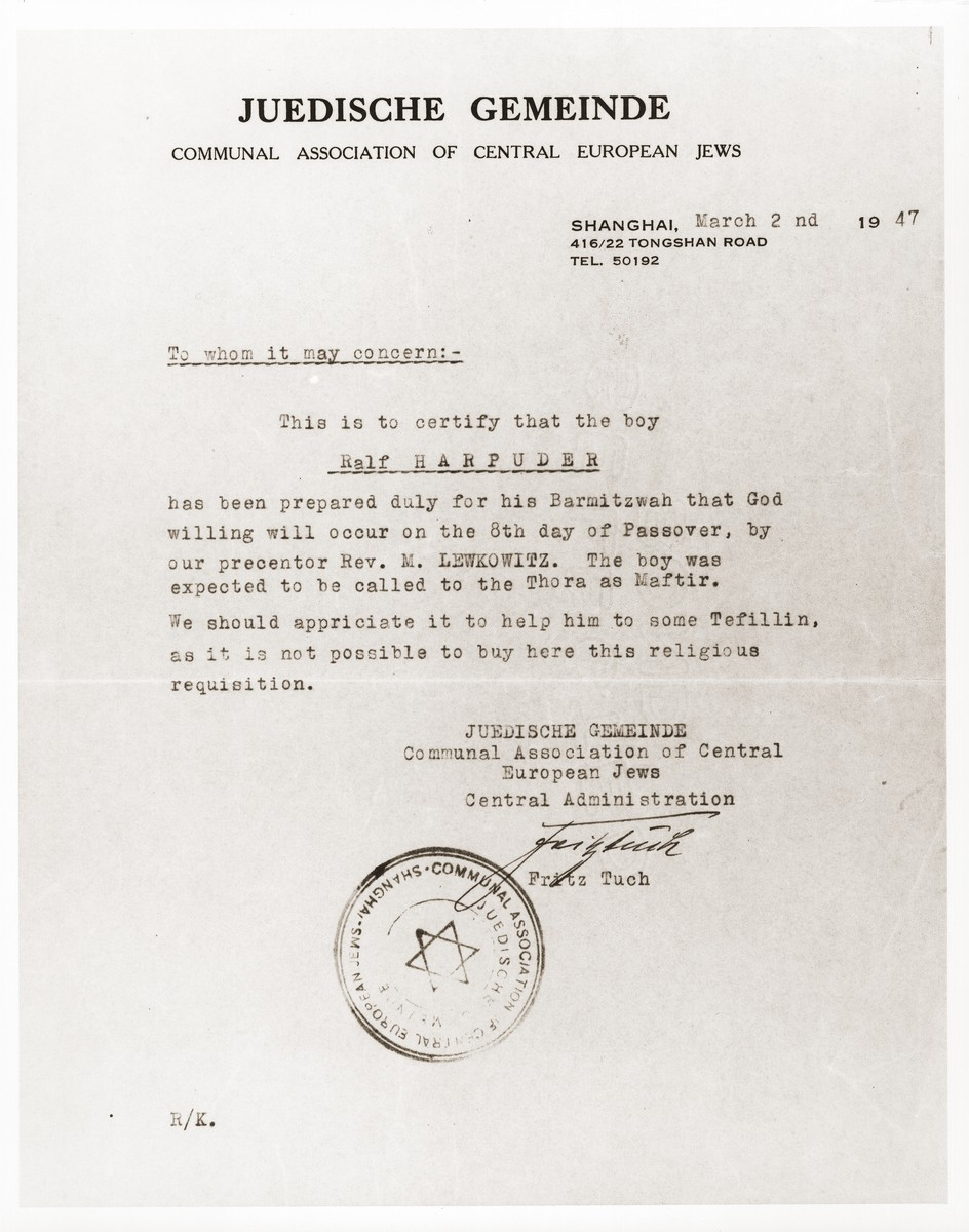 Certificate issued to Ralf Harpuder by the Communal Association of Central European Jews in Shanghai, attesting to his having completed training for his Bar Mitzvah.