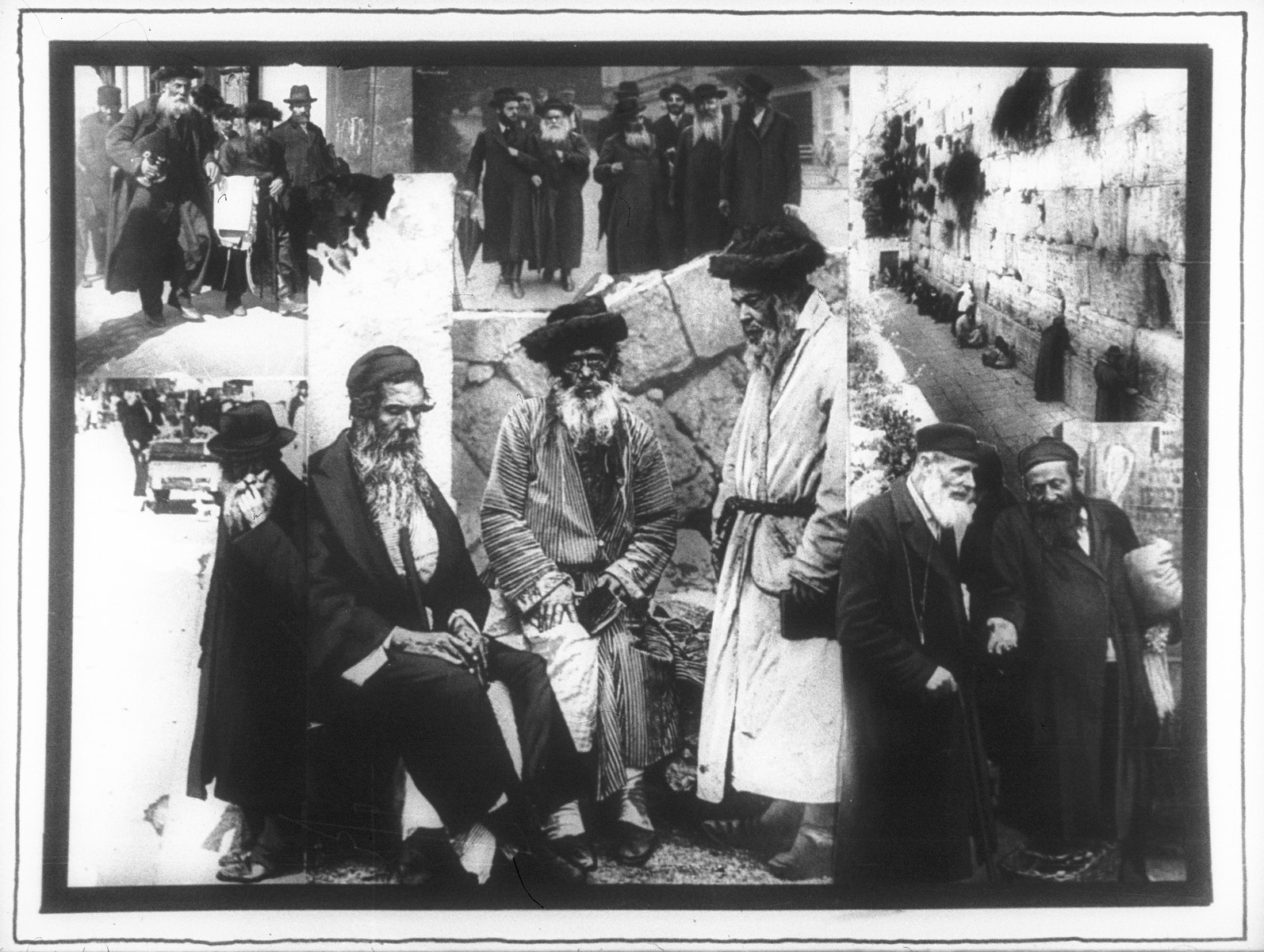 Propaganda slide featuring a series of pictures of religious Jews in various settings in Europe and Palestine.