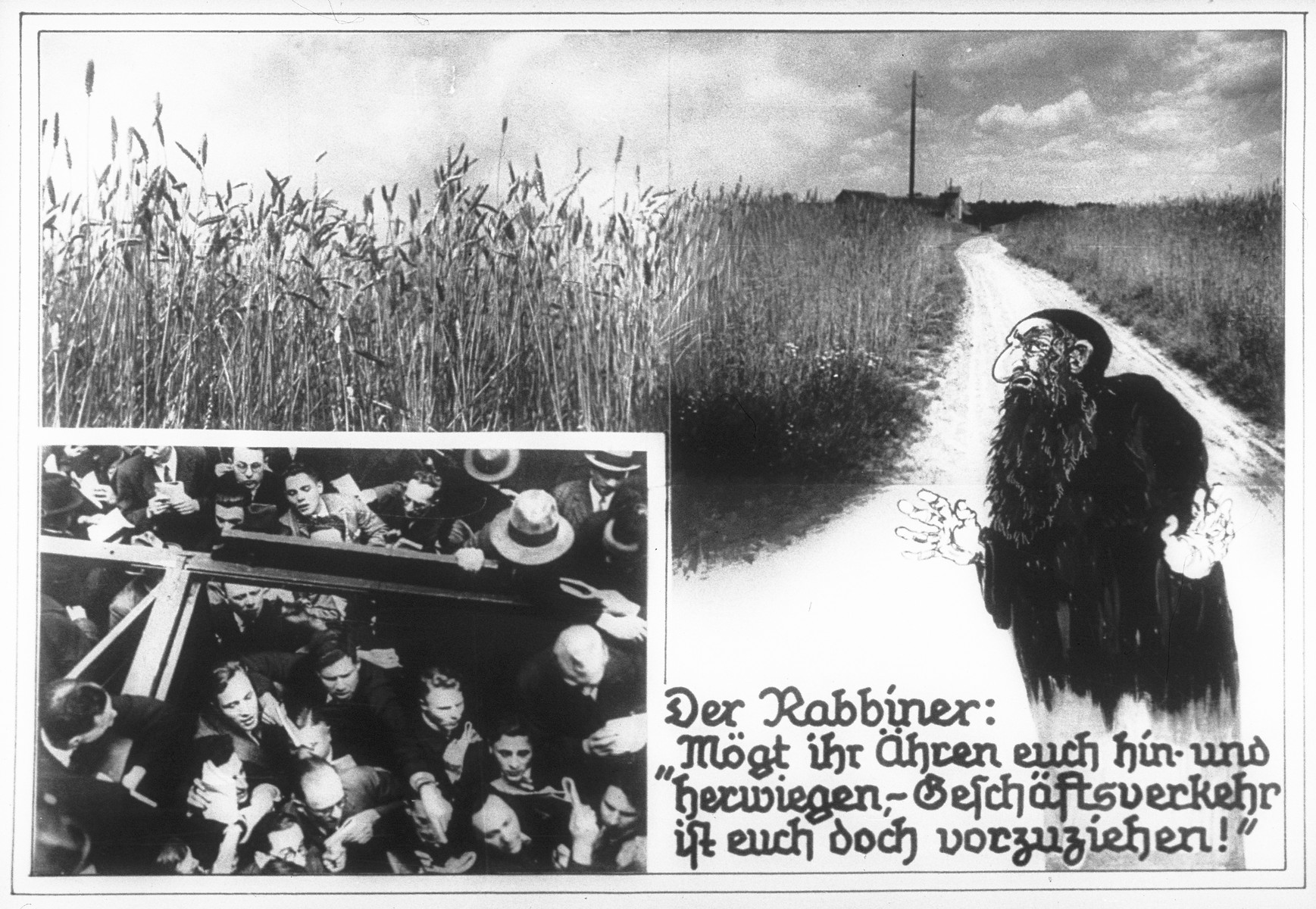 """Propaganda slide entitled """"The Rabbi: 'You ears [of corn] sway back and forth, but business is preferable to you!'"""""""