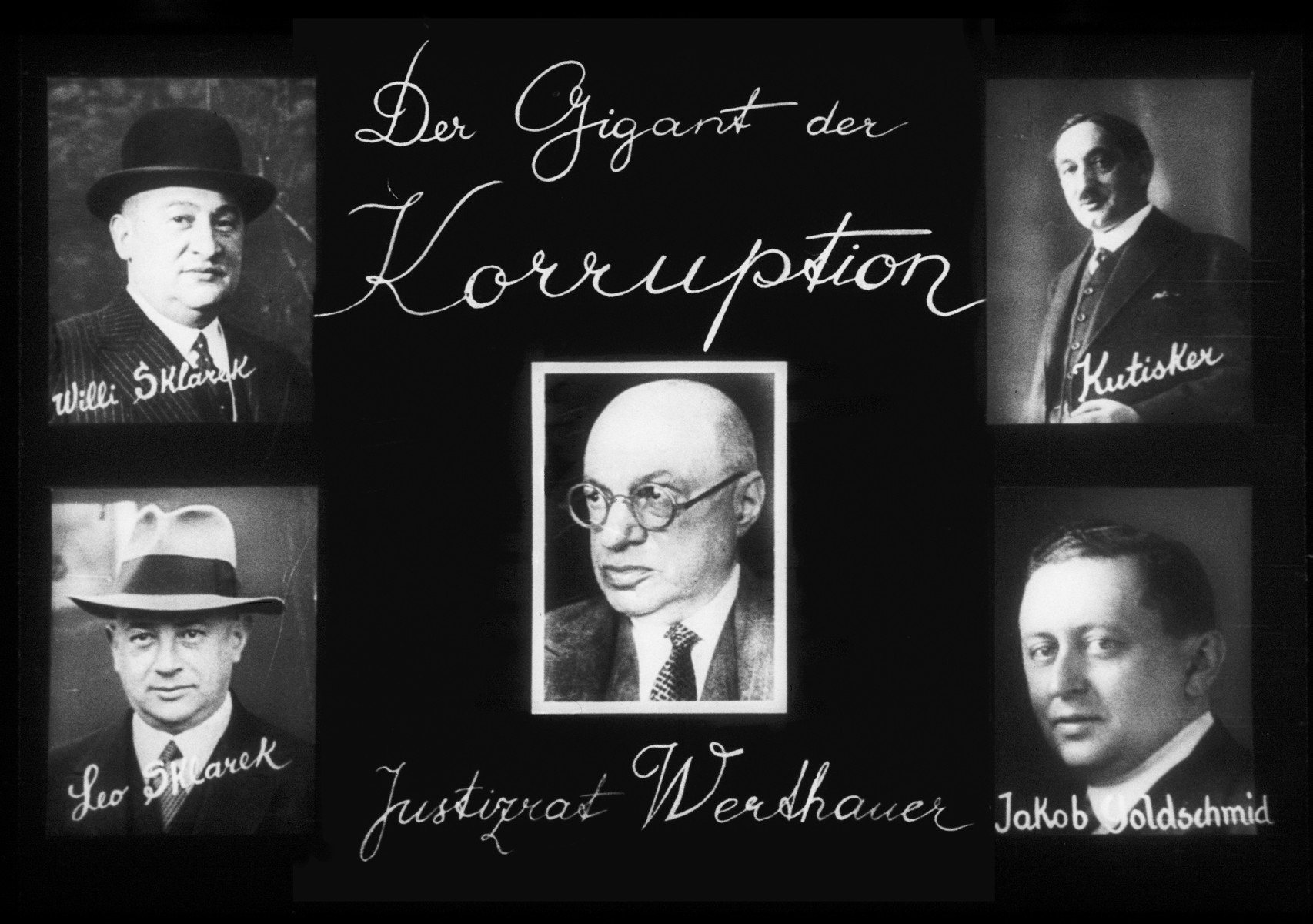 "Propaganda slide entitled, ""The Titans of Corruption,"" featuring photographs of five prominent Jews."