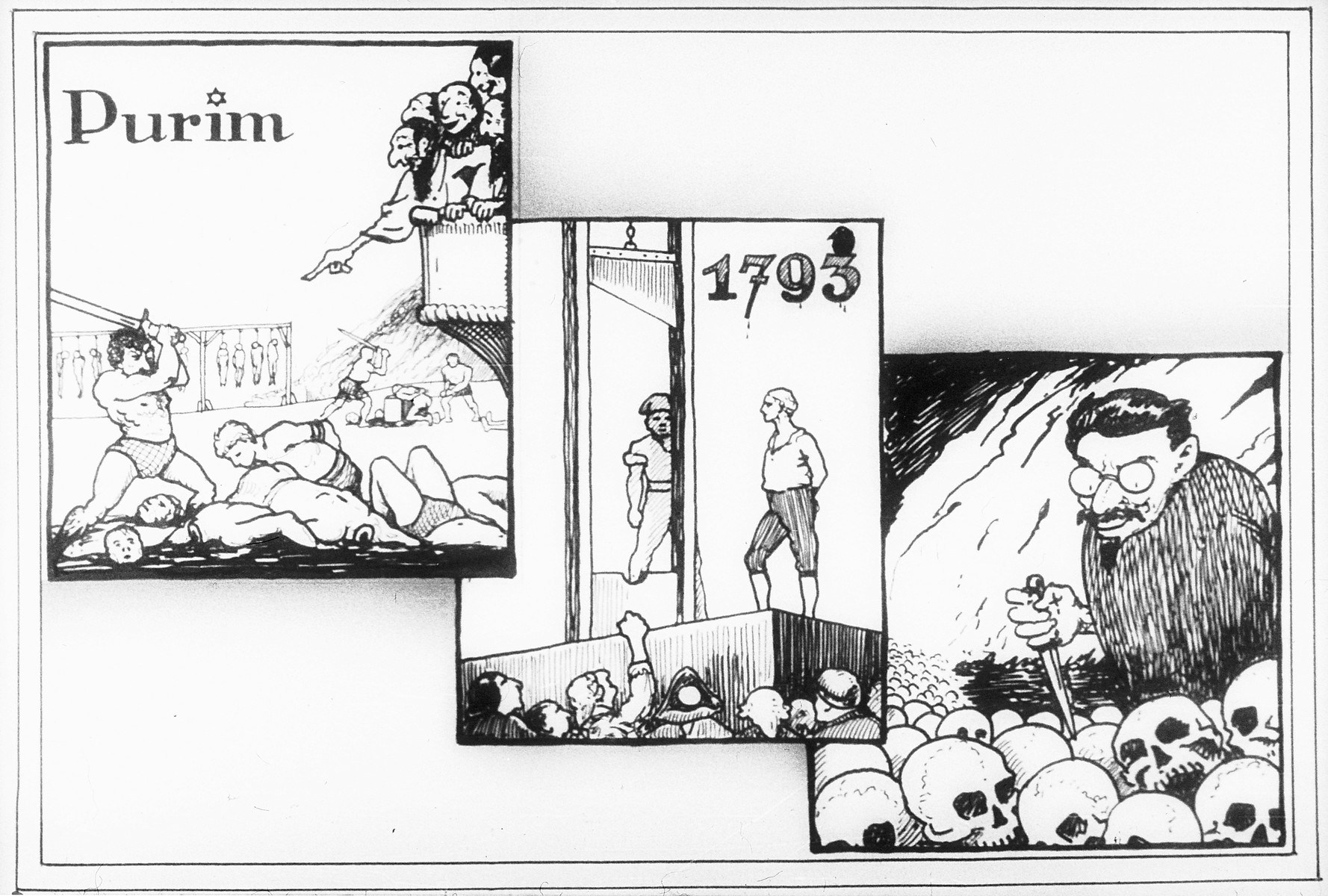 """Propaganda slide entitled """"Purim,"""" featuring three images showing Jewish responsibility for catastrophic historical events: the demise of Haman, the terror of the French Revolution and the horror of the Bolshevik Revolution."""