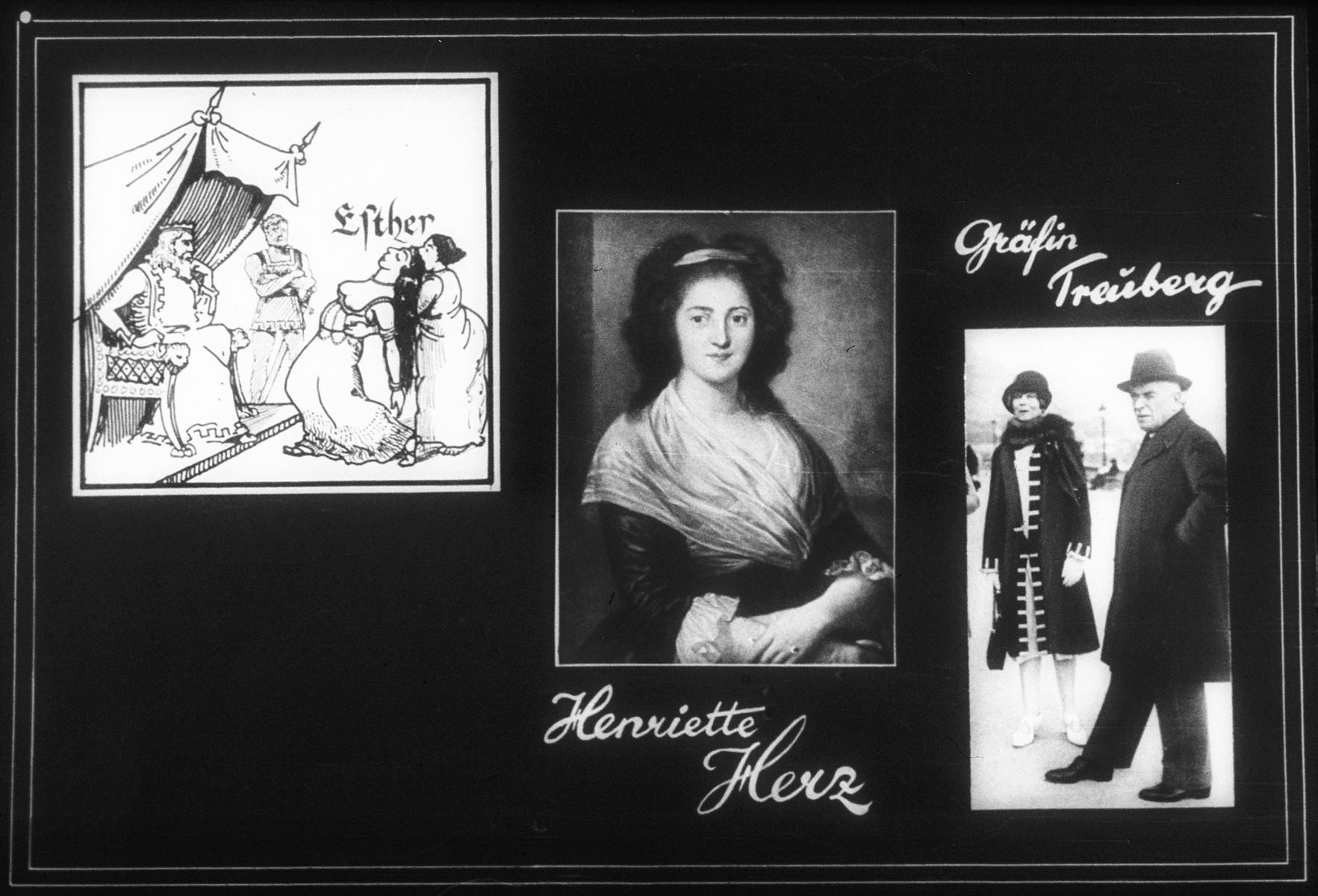 Propaganda slide featuring a portrait of Henrietta Herz, Gräfin Traiberg, and a scene from the Scroll of Esther.