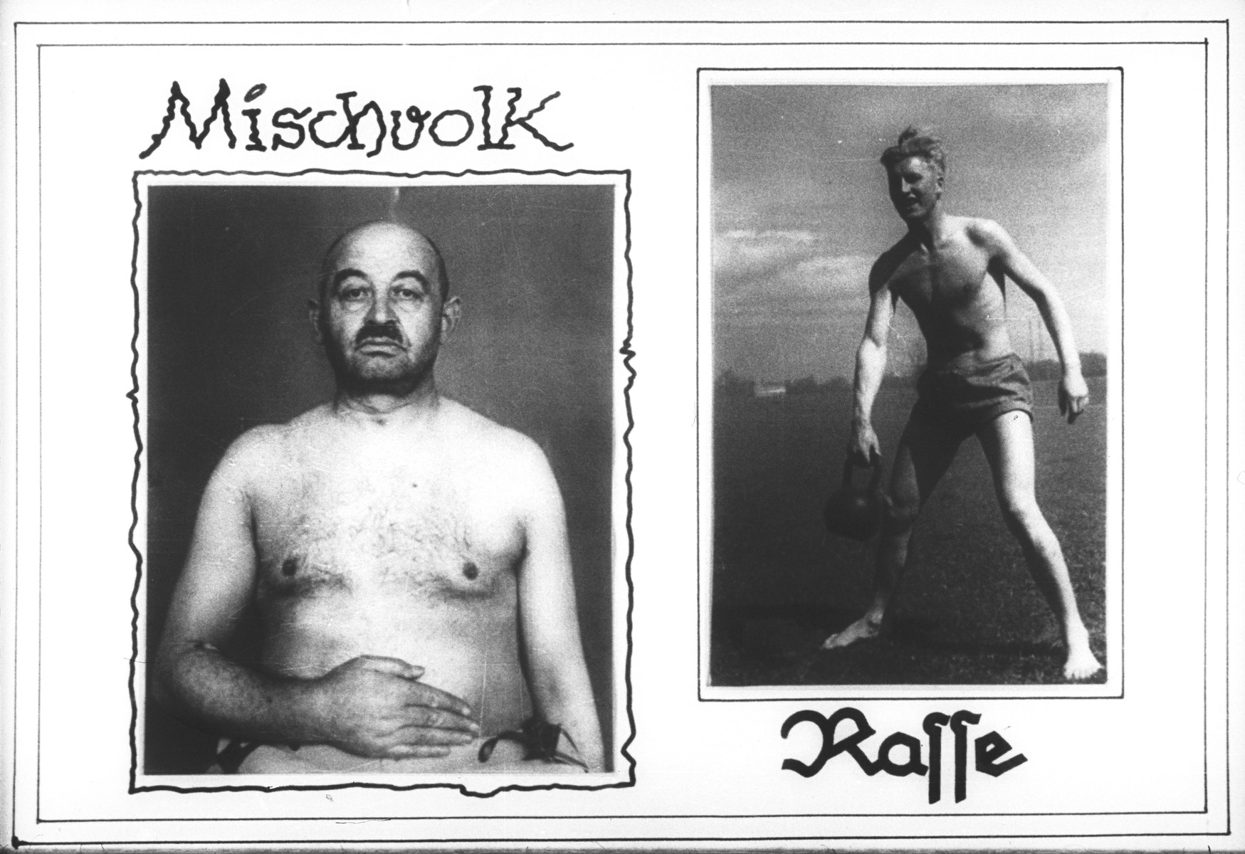 """Propaganda slide which contrasts a person of mixed race (at the left) with a healthy """"Aryan"""" youth (at the right)."""