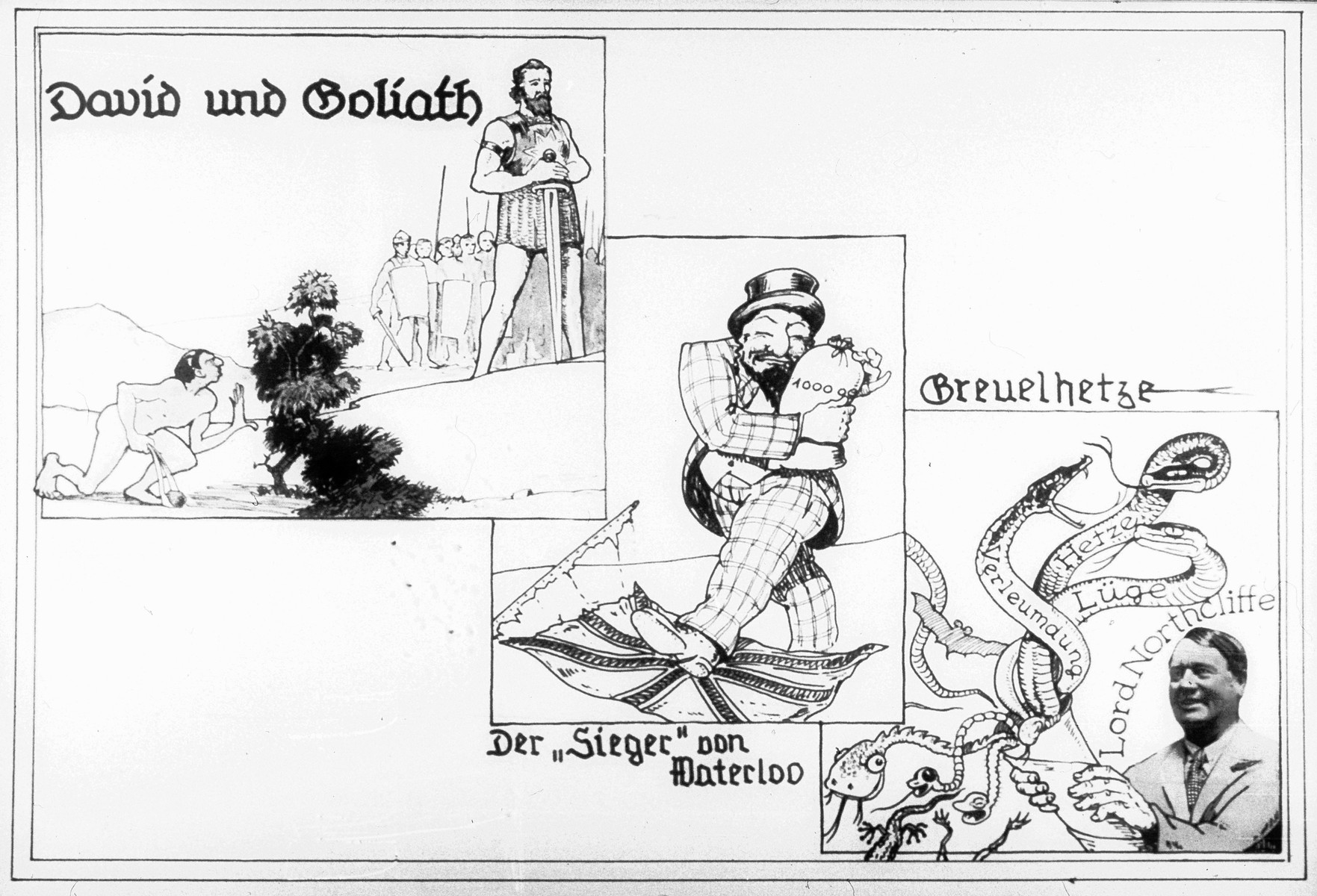 "Propaganda slide with three images entitled ""David and Goliath,"" ""The Victor of Waterloo,"" and ""Atrocity Propaganda."""