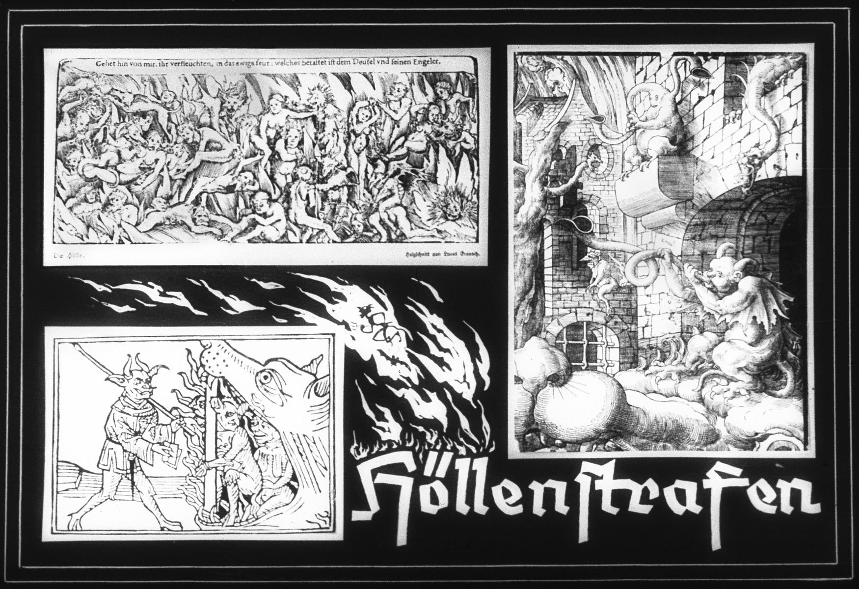 "Propaganda slide entitled ""Punishments of Hell."""