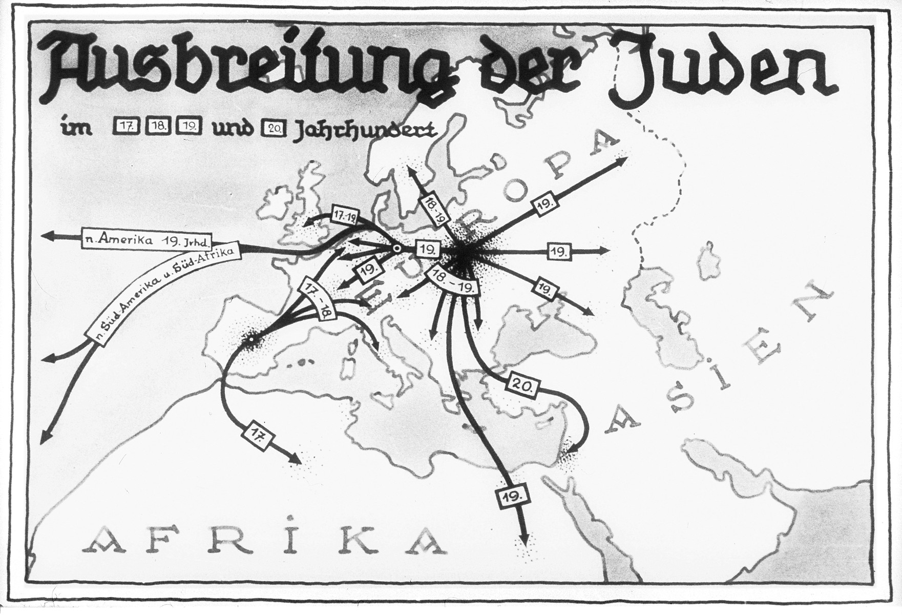 "Propaganda slide entitled ""The spreading of the Jews,"" featuring a map illustrating the expansion of the Jewish population from the 17th to the 20th century."