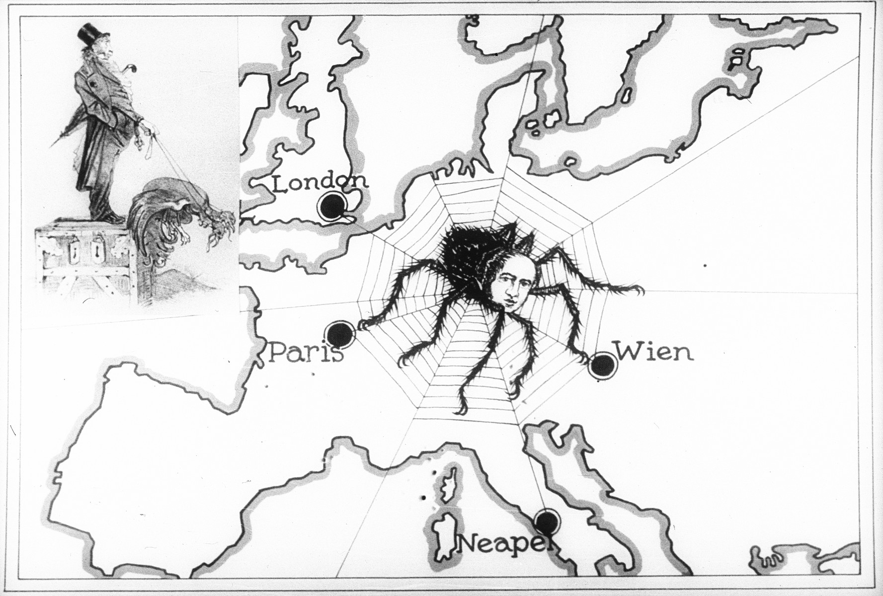 "Propaganda slide showing the ""Jewish spider"" entangling Europe in its web."