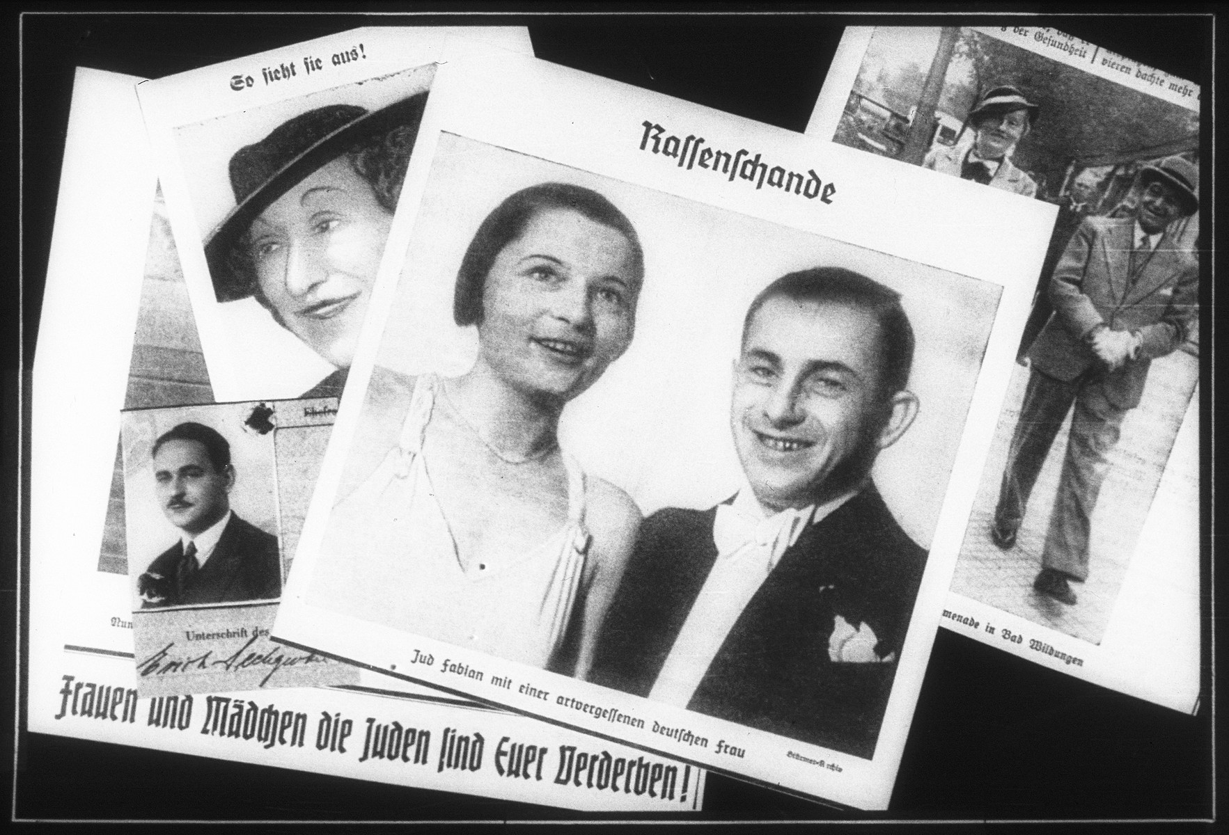 "Propaganda slide entitled, ""Race Defilement,"" featuring photographs of mixed couples with the slogan: ""Women and Girls, the Jews are your ruin!"""