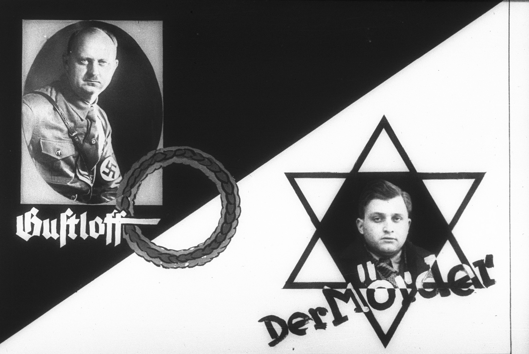 """Nazi propaganda slide featuring images of Wilhelm Gustloff, leader of the NSDAP's foreign organization in Switzerland (left), and David Frankfurter, the Jewish student who assassinated him in 1936 (right).    The image of Frankfurter is framed by a Star of David, with the words """"The Murderer"""" written beneath."""