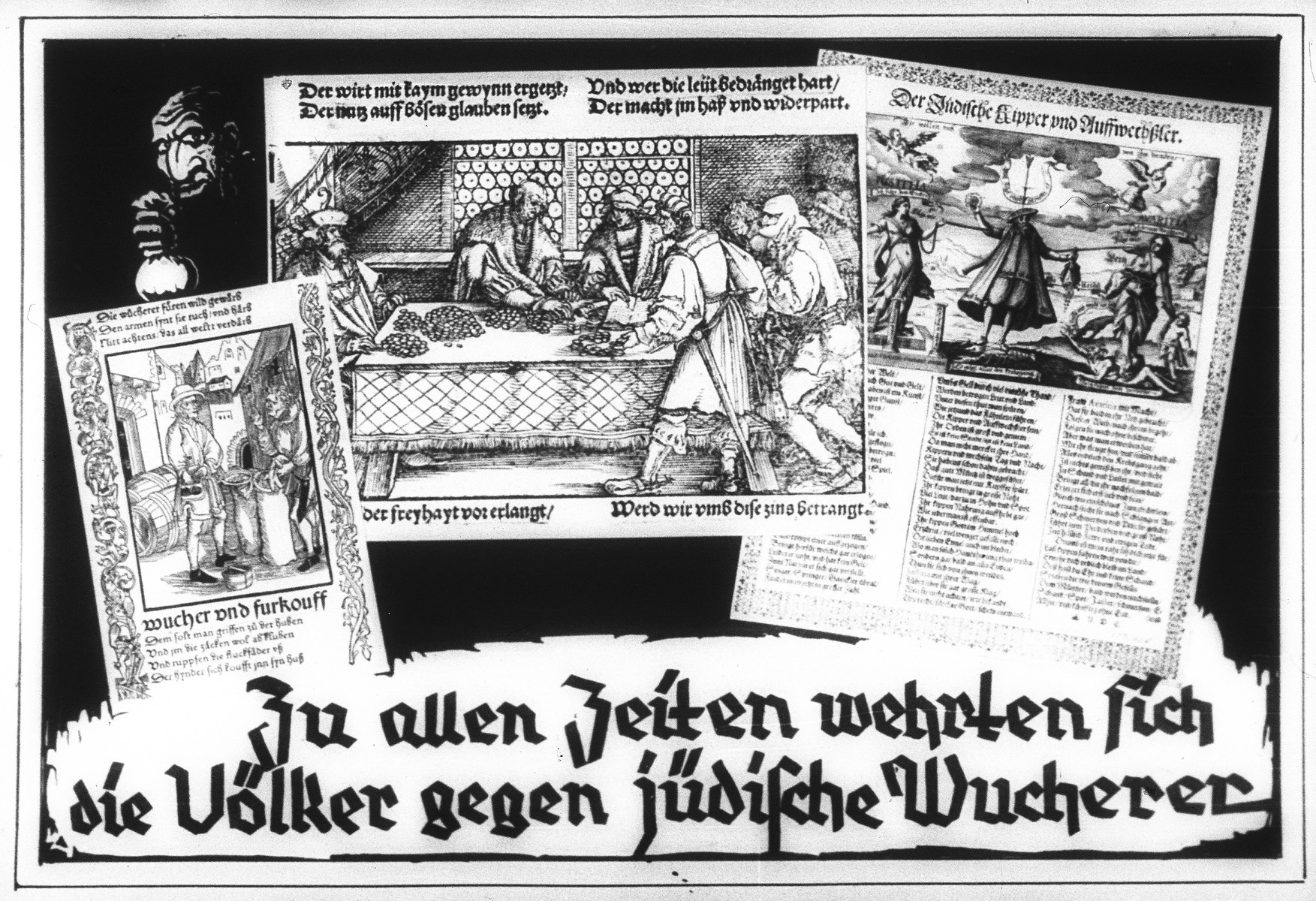 "Propaganda slide entitled ""Throughout history the nations defended themselves against Jewish usury,"" featuring three medieval depictions of Jewish economic activity."