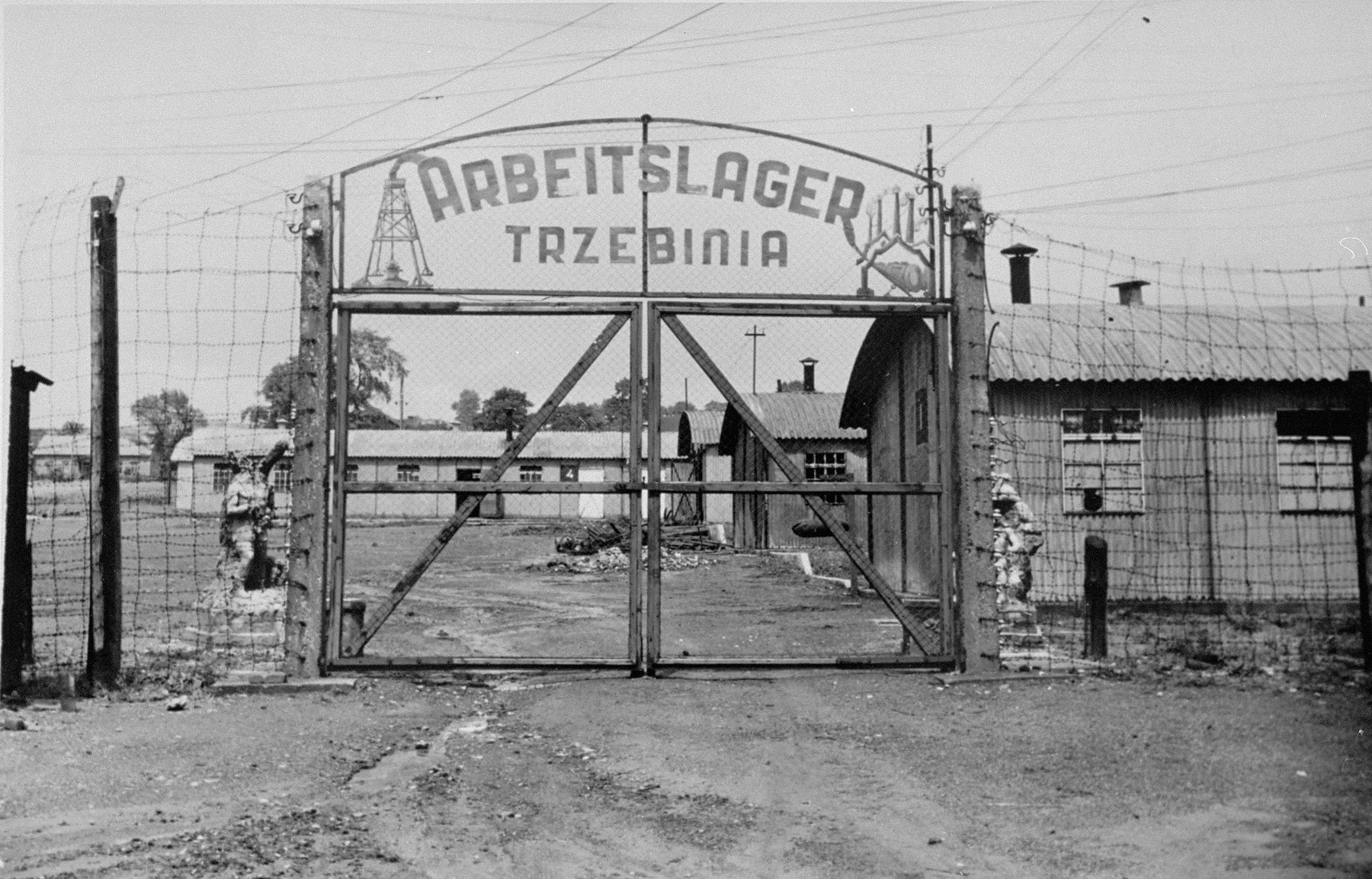 The entrance gate to the Trzebinia sub-camp of Auschwitz.