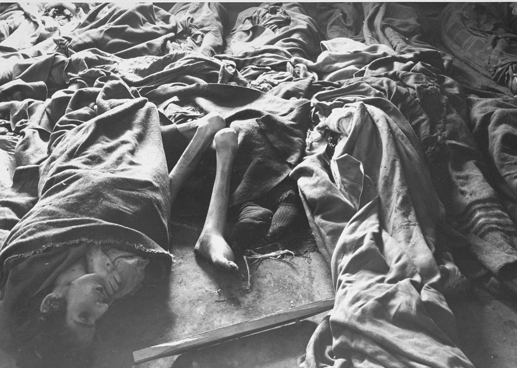 Corpses of women piled up on the floor of Block 11.
