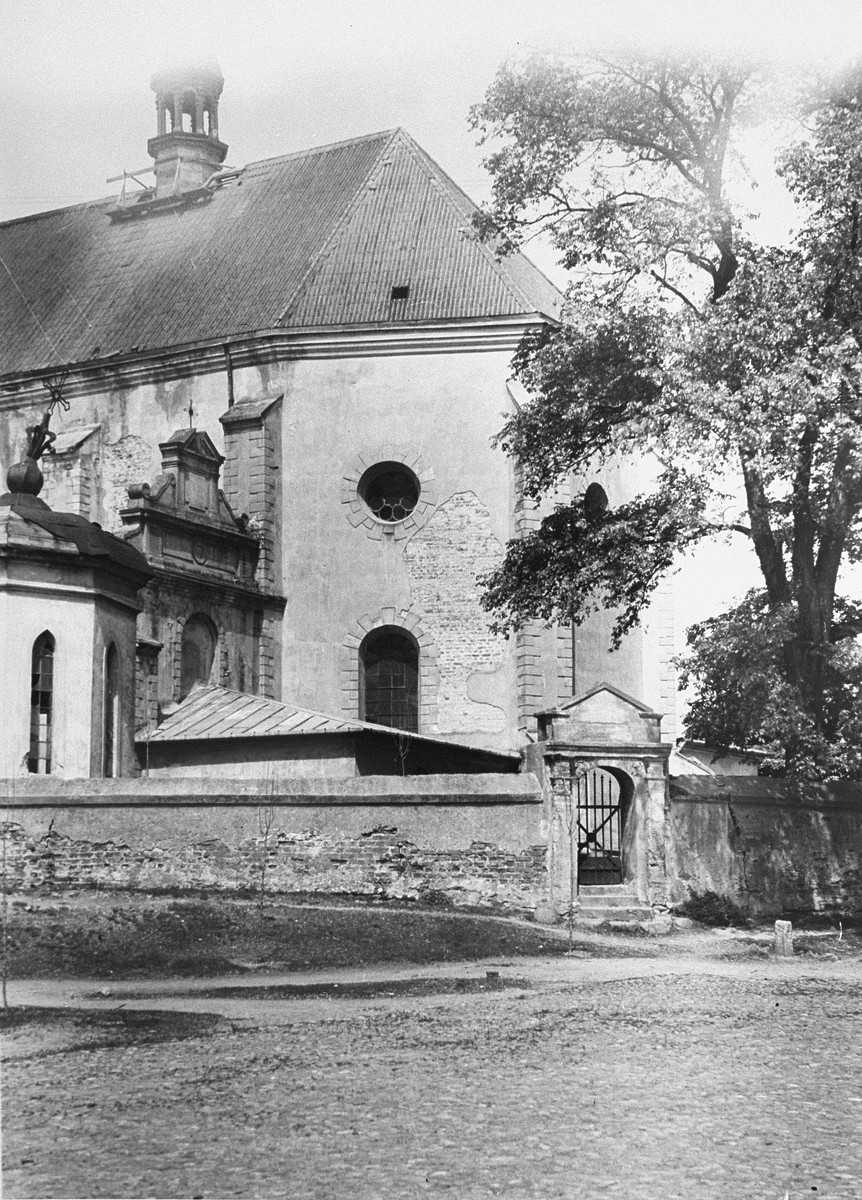 Exterior view of a church in Poddebica photographed after liberation by a war crimes investigation team.  This is probably the church in which Jews were held in April 1942 prior to their deportation to Chelmno and eventual extermination.