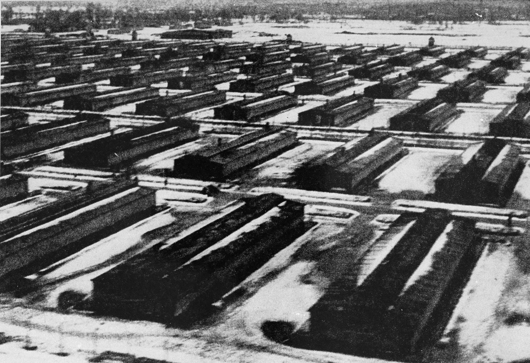 A view of the Auschwitz II camp showing the barracks of the camp.