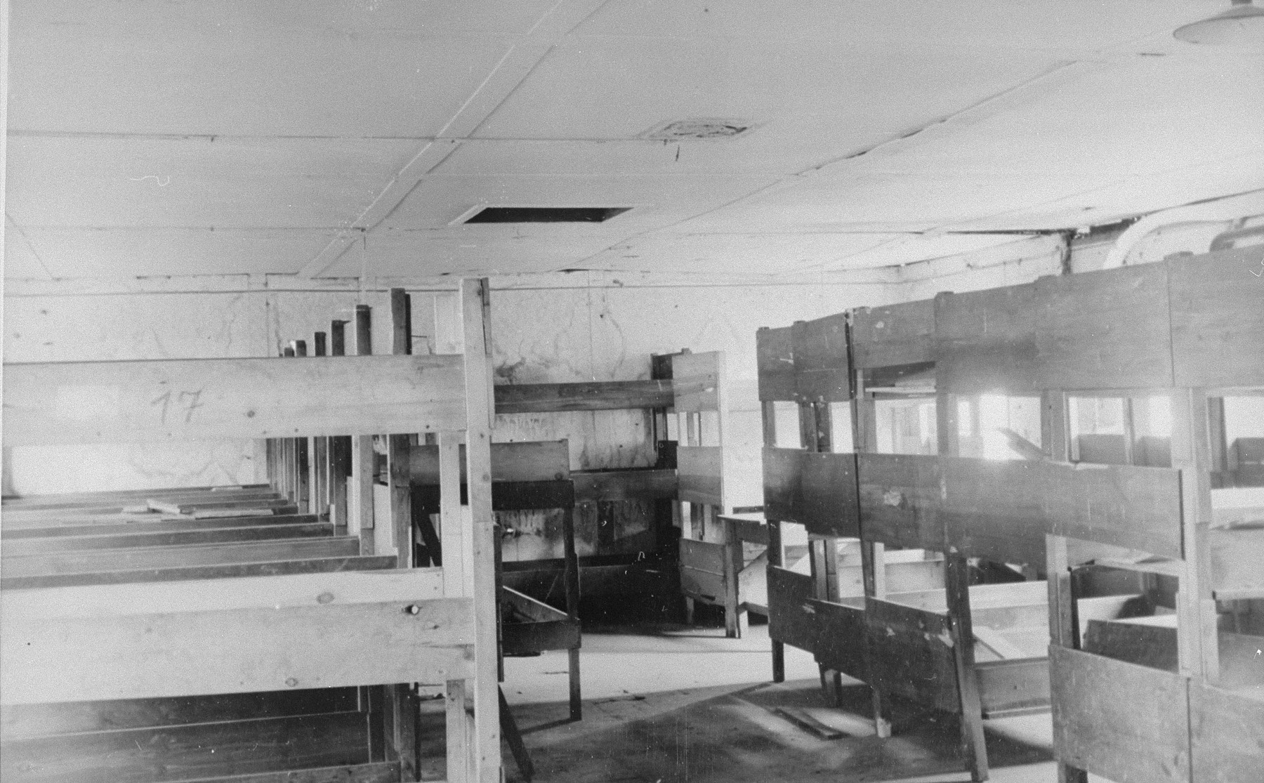 Interior view of barrack #4 in Trzebinia, sub-camp of Auschwitz.