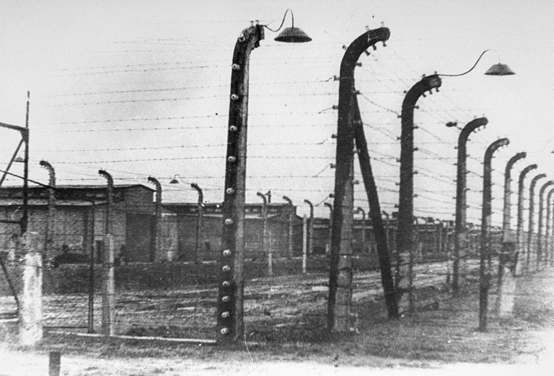 A view of the Auschwitz concentration camp after liberation.