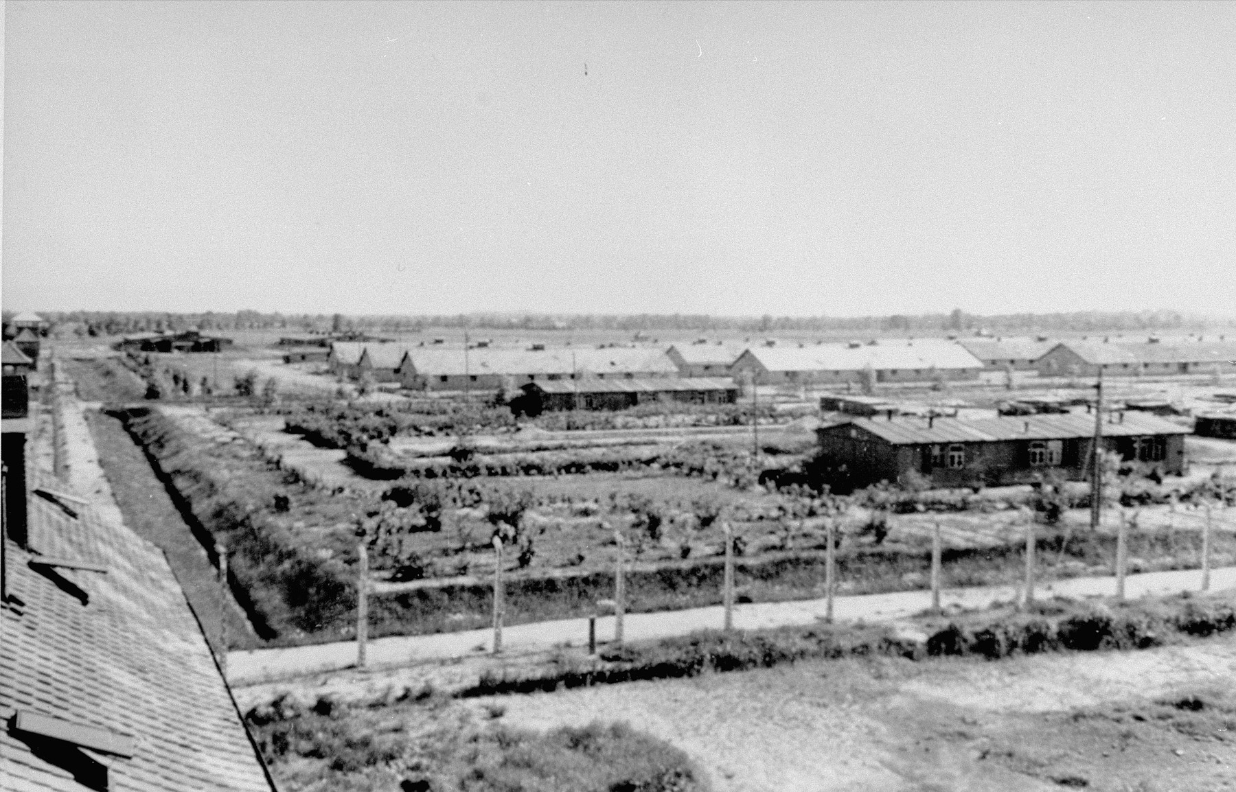 View of the Birkenau B-IA section of the camp, from the main watch tower (Death Gate) with the Lagerstrasse on the foreground and in the background the Kartoffelbunker, the Wascheraum, blocks 25, 26 and 27, the infirmary, remains of the block 29 for infected inmates and the x-ray block.