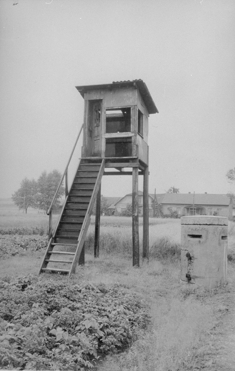 Watch tower #3 in the North-West part of Trzebinia, sub-camp of Auschwitz.