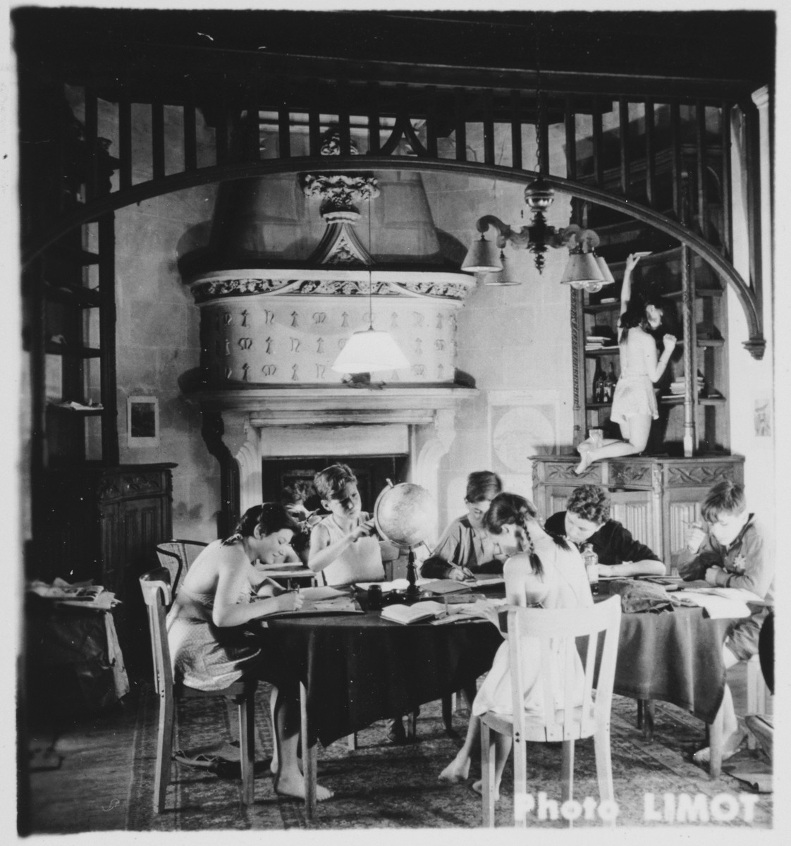 Children study in the library of the Mehoncourt children's home.