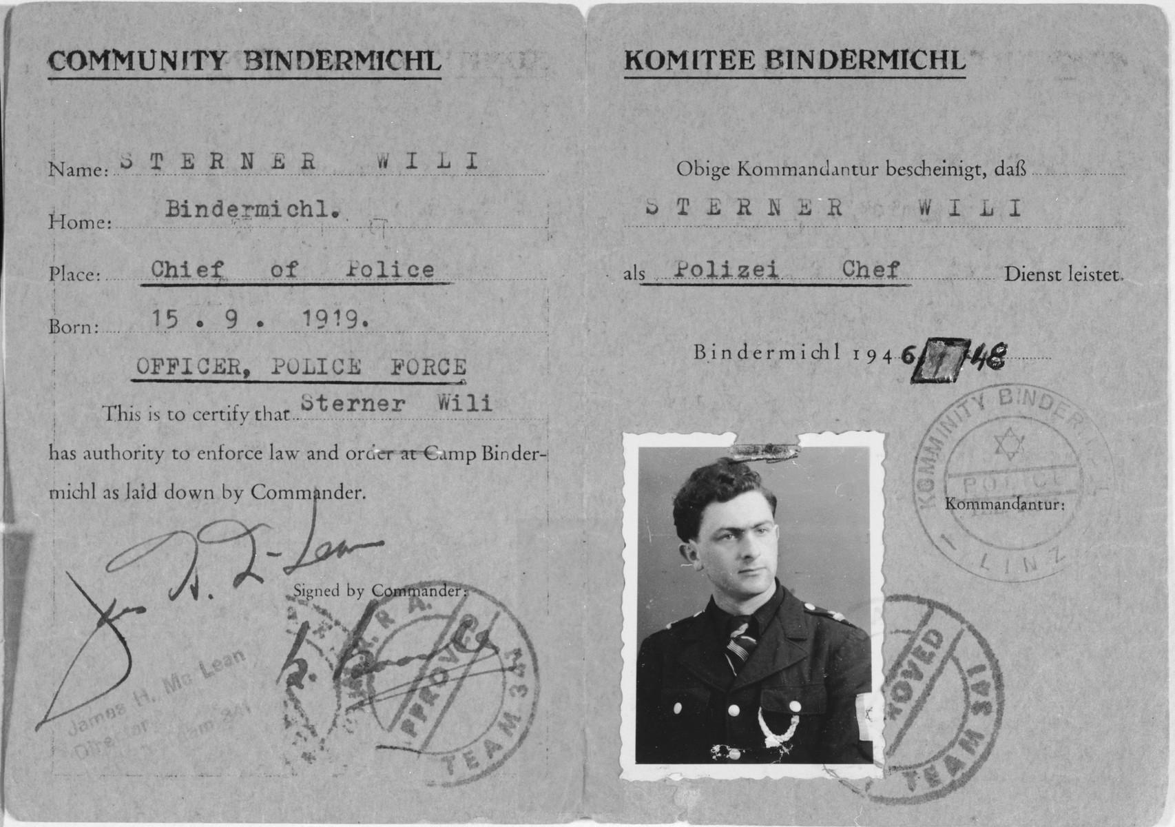 Police identification card issued by the Bindermichl displaced persons camp committee to police chief Willie Sterner, certifying his authority to enforce the law within the camp.