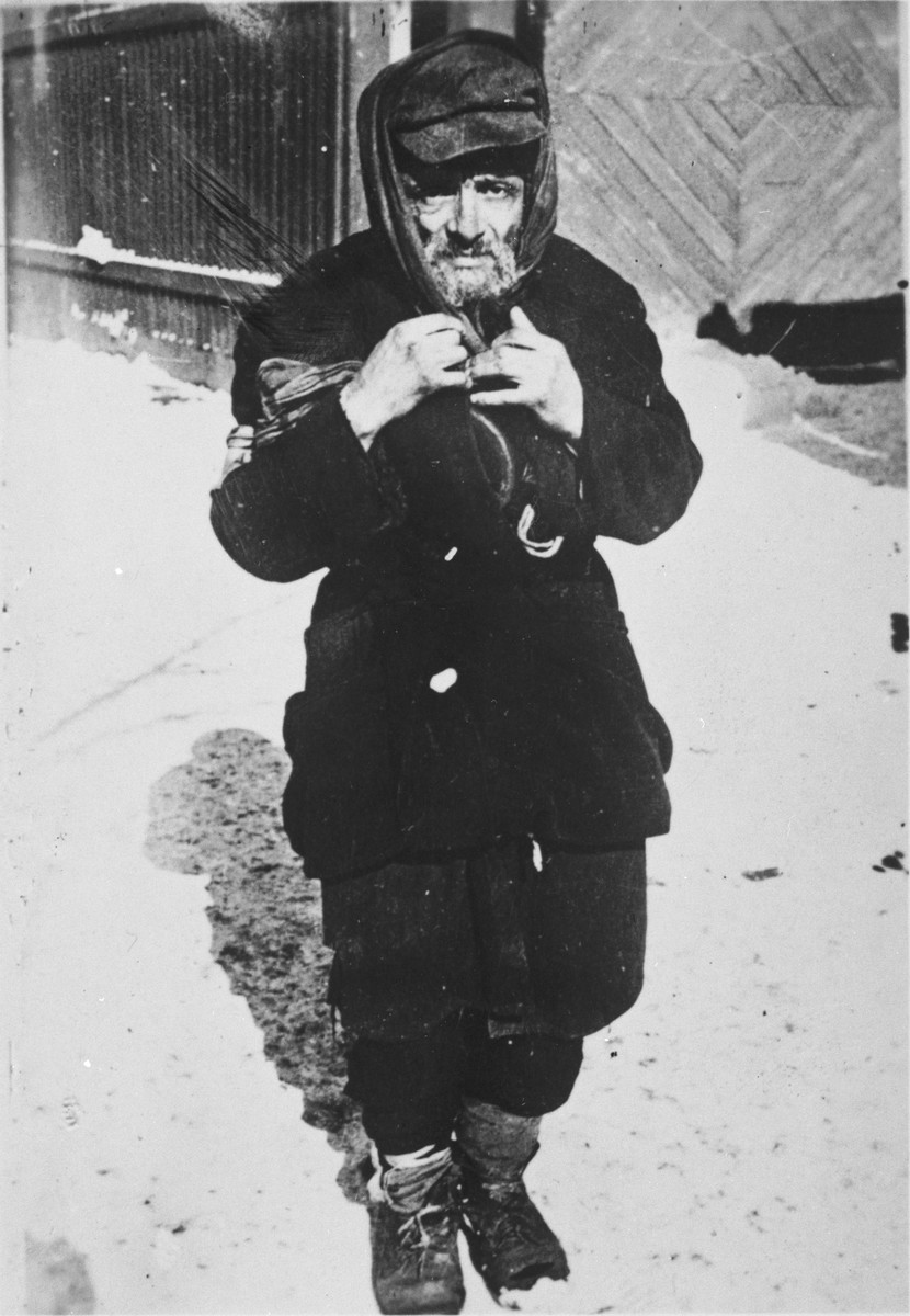 A destitute Jew in an unidentified ghetto in Poland.