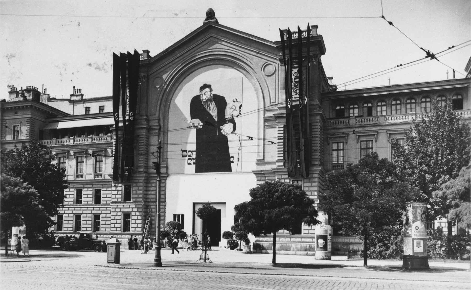 "The entrance to the ""Eternal Jew"" exhibition at the North-West Hall at the Vienna Railway Station. The opening ceremony was presided over by Gauleiter Globocnik and Reichsstatthalter Artur Seyss-Inquart."