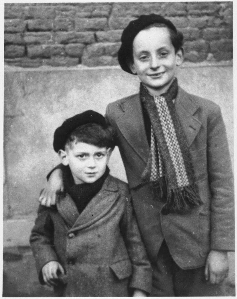 Portrait of two Jewish brothers a few weeks after their release from the Rivesaltes internment camp.  Pictured are Julien Engel (right) and his brother Georges.