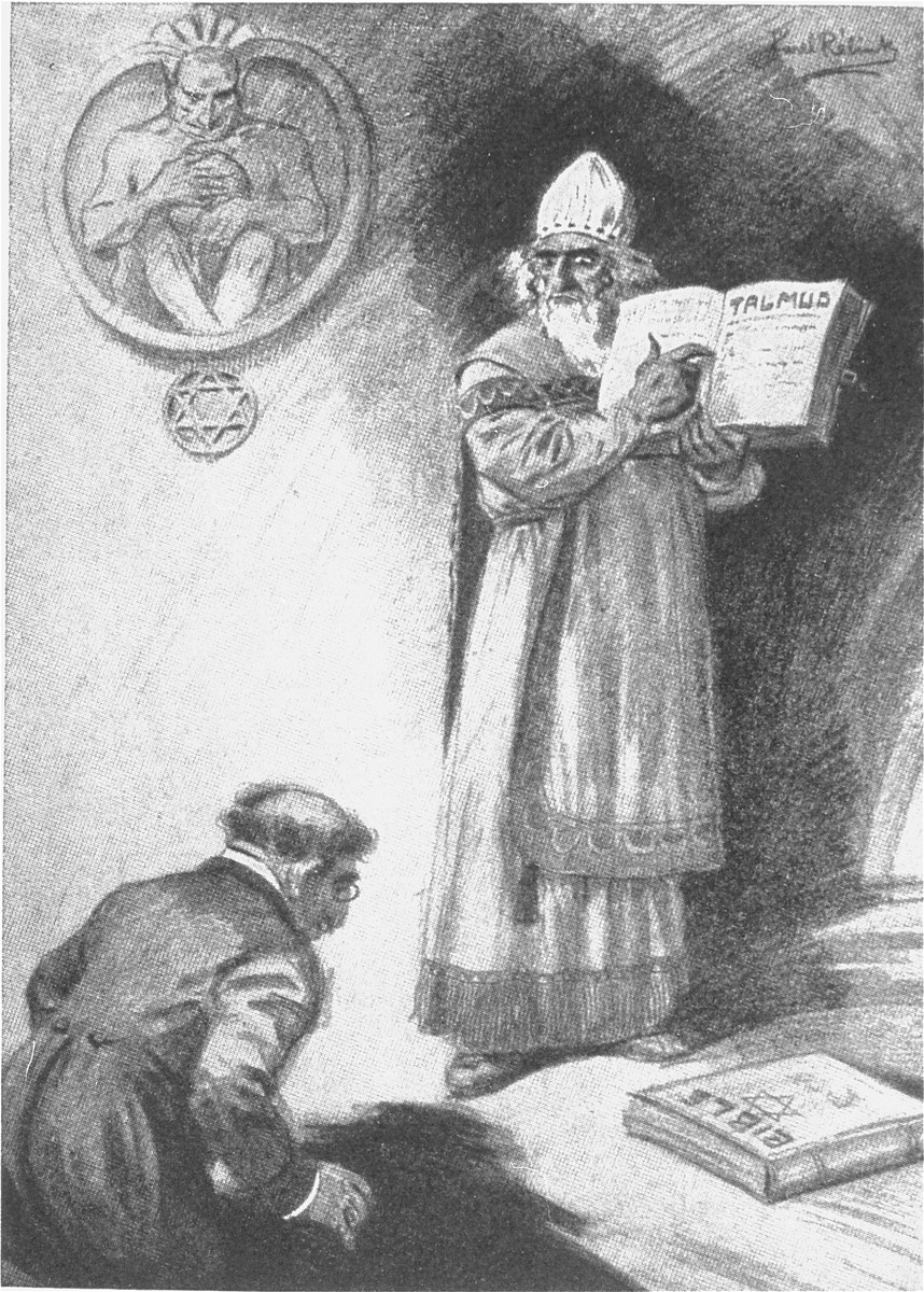 "Antisemitic cartoon published in Dr. Kurt Plischke's ""Der Jude als Rassenschaender: Eine Anklage gegen Juda und eine Mahnung an die deutschen Frauen und Maedchen"" [The Jew as Race Defiler: An Accusation against Judah and a Warning to German Women and Girls]."