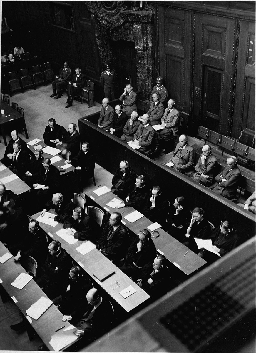 The defendants and their lawyers listen to the trial proceedings during the High Command Case.