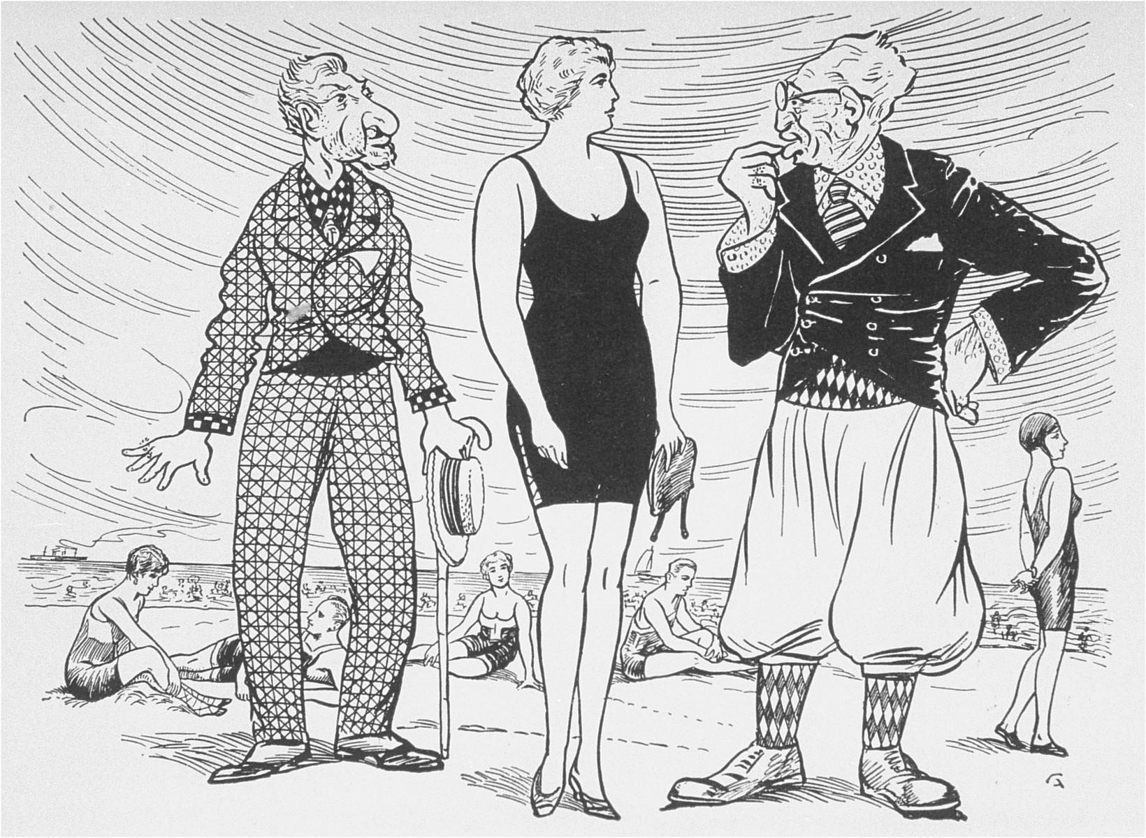 """Antisemitic cartoon published in Dr. Kurt Plischke's """"Der Jude als Rassenschaender: Eine Anklage gegen Juda und eine Mahnung an die deutschen Frauen und Maedchen"""" [The Jew as Race Defiler: An Accusation against Judah and a Warning to German Women and Girls]."""