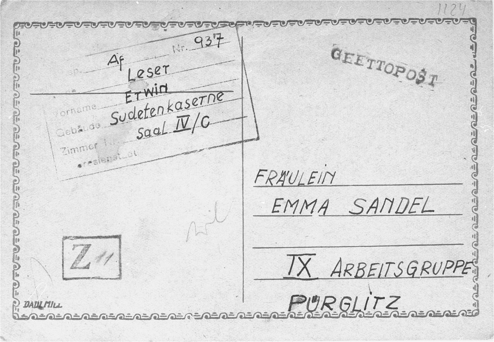 The front of a post card sent from Erwin Leser, a German Jewish prisoner in Theresienstadt, to Emma Sandel.