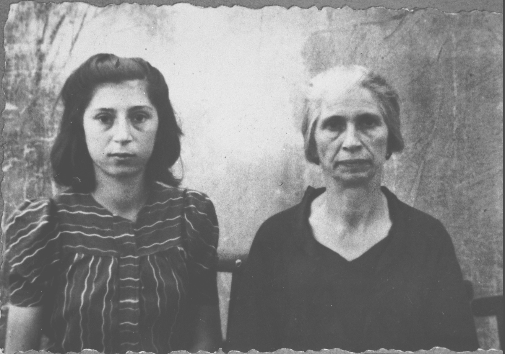 Portrait of Sara Israel, [wife of Yakov Israel] and Alegra Israel.  Alegra is the daughter of Yakov Israel.  Alegra was a student.  They lived at Dalmatinska 70 in Bitola.