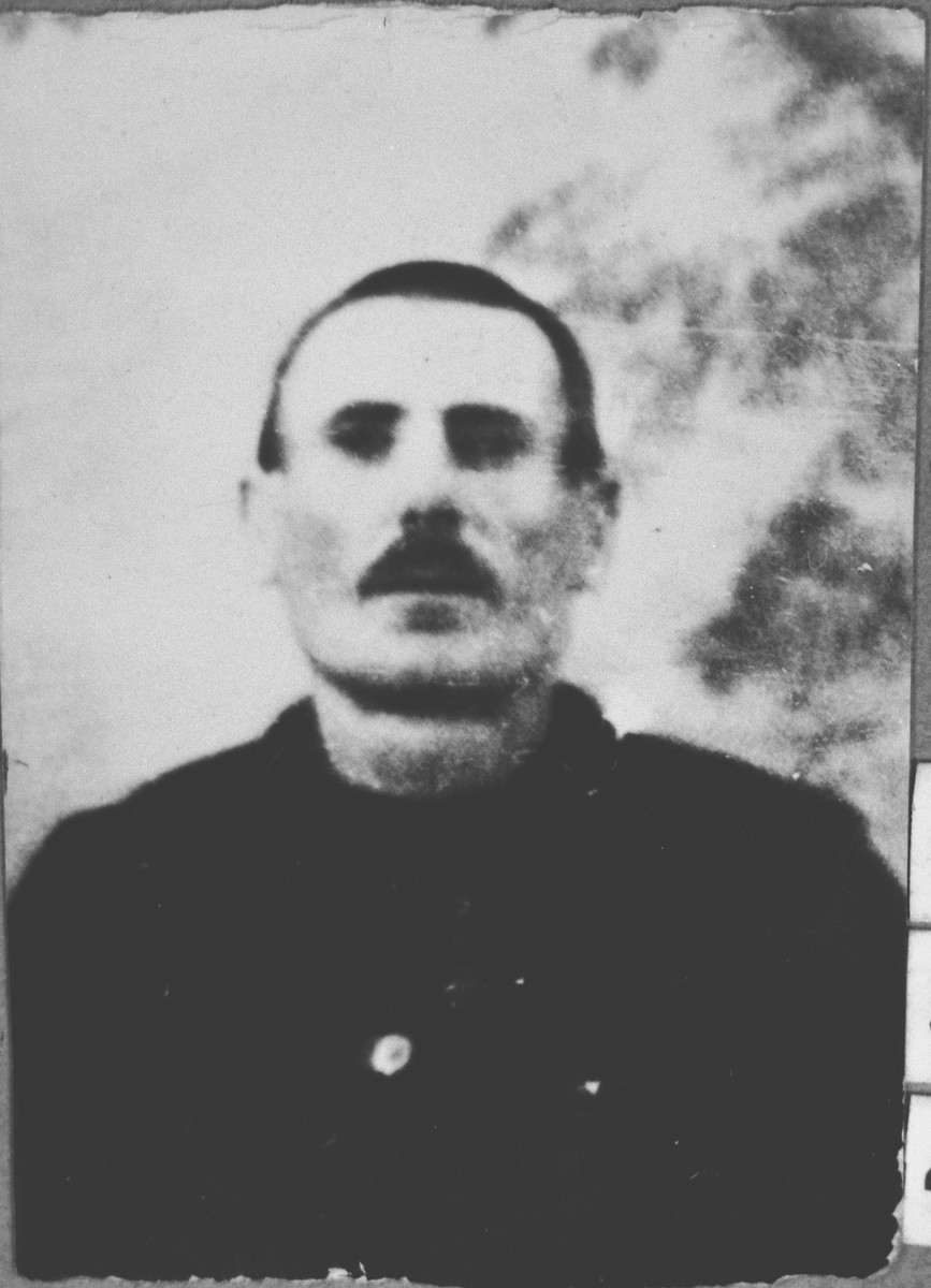 Portrait of Isak Ischach.  He was a grocer.  He lived at Karagoryeva 95 in Bitola.