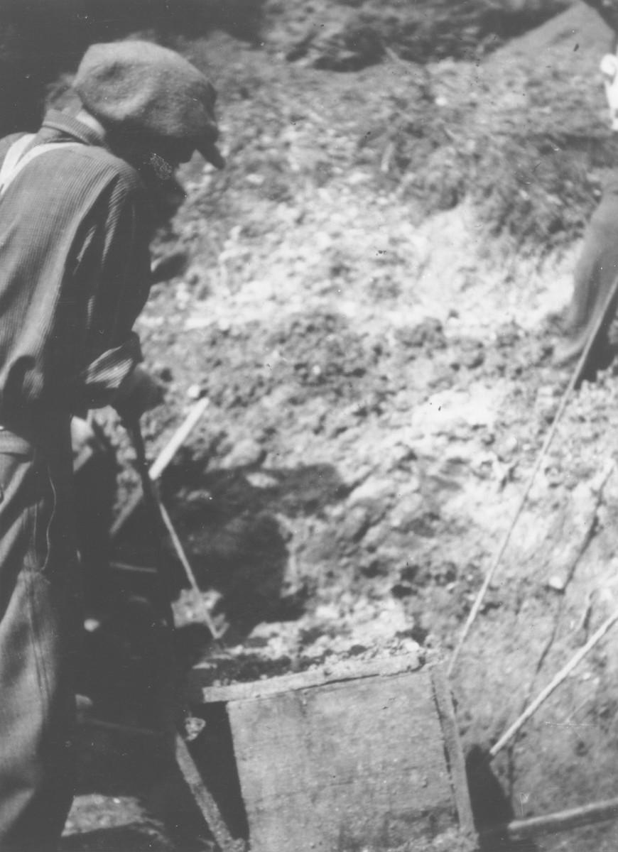 Romanian workmen exhume a coffin containing the body of a Jew killed in the ghetto in Dej.