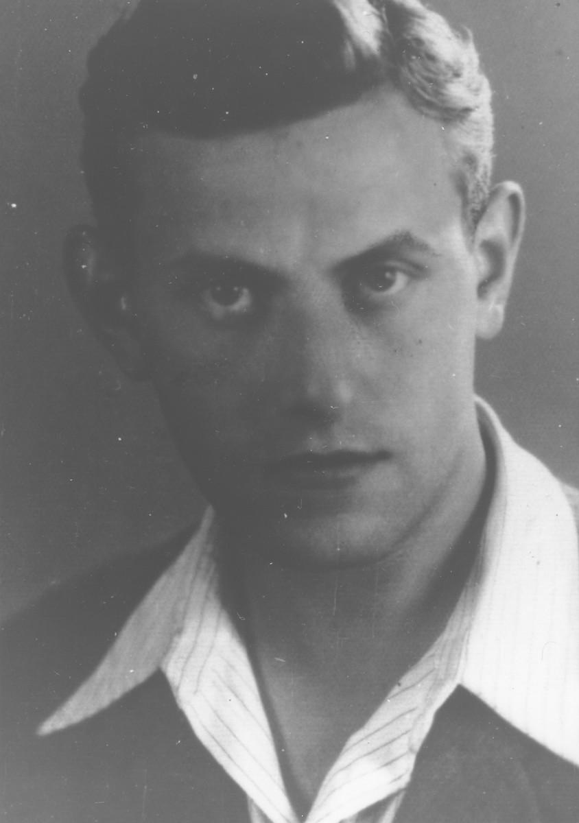 Close-up portrait of Hungarian survivor, Adolph  Abraham.