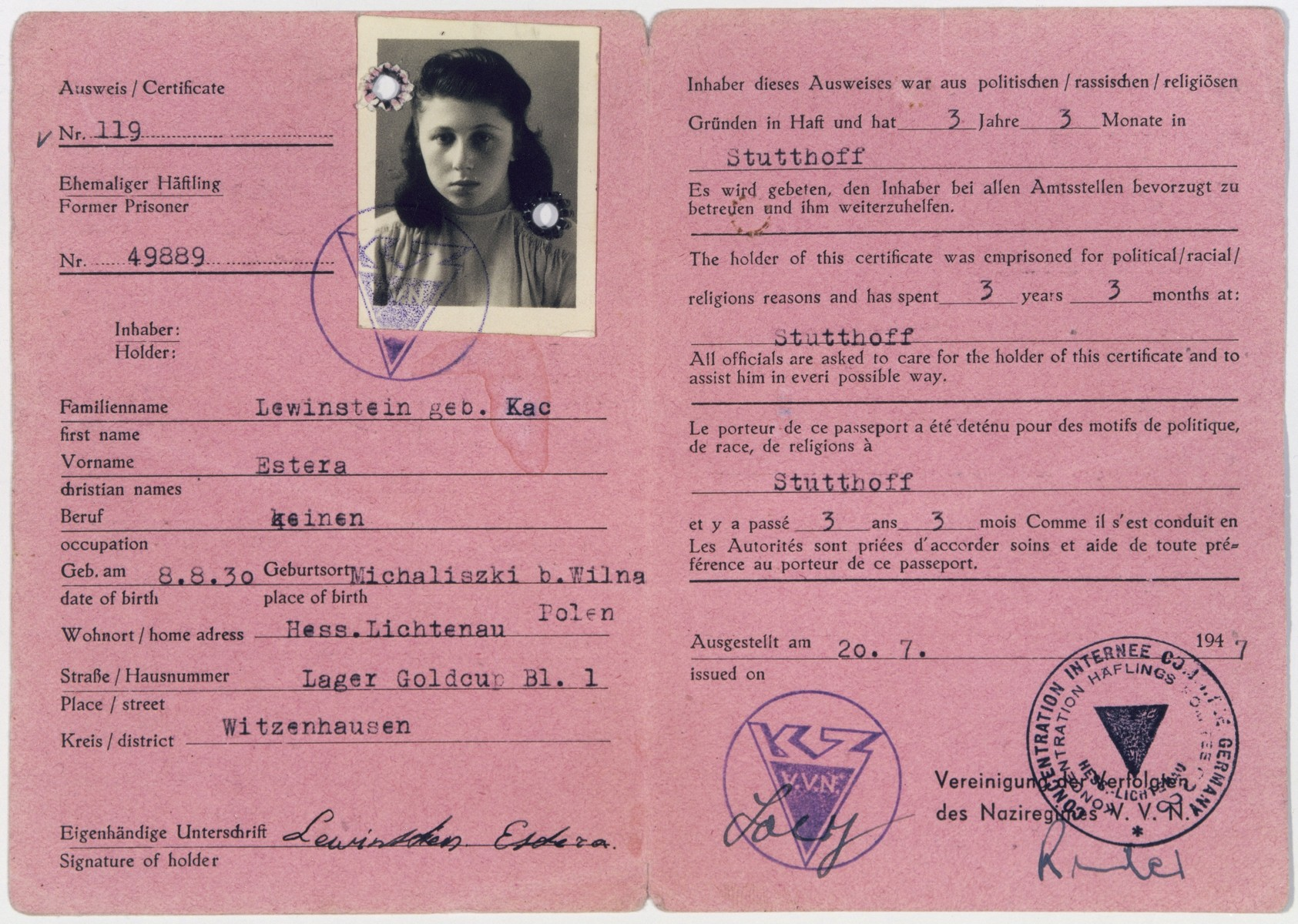 Identification card for Estera Kac Lewinstein (later Esther Livingston), a resident of the Gold Cup displaced persons camp, that certifies she was a former concentration camp prisoner at Stutthof.